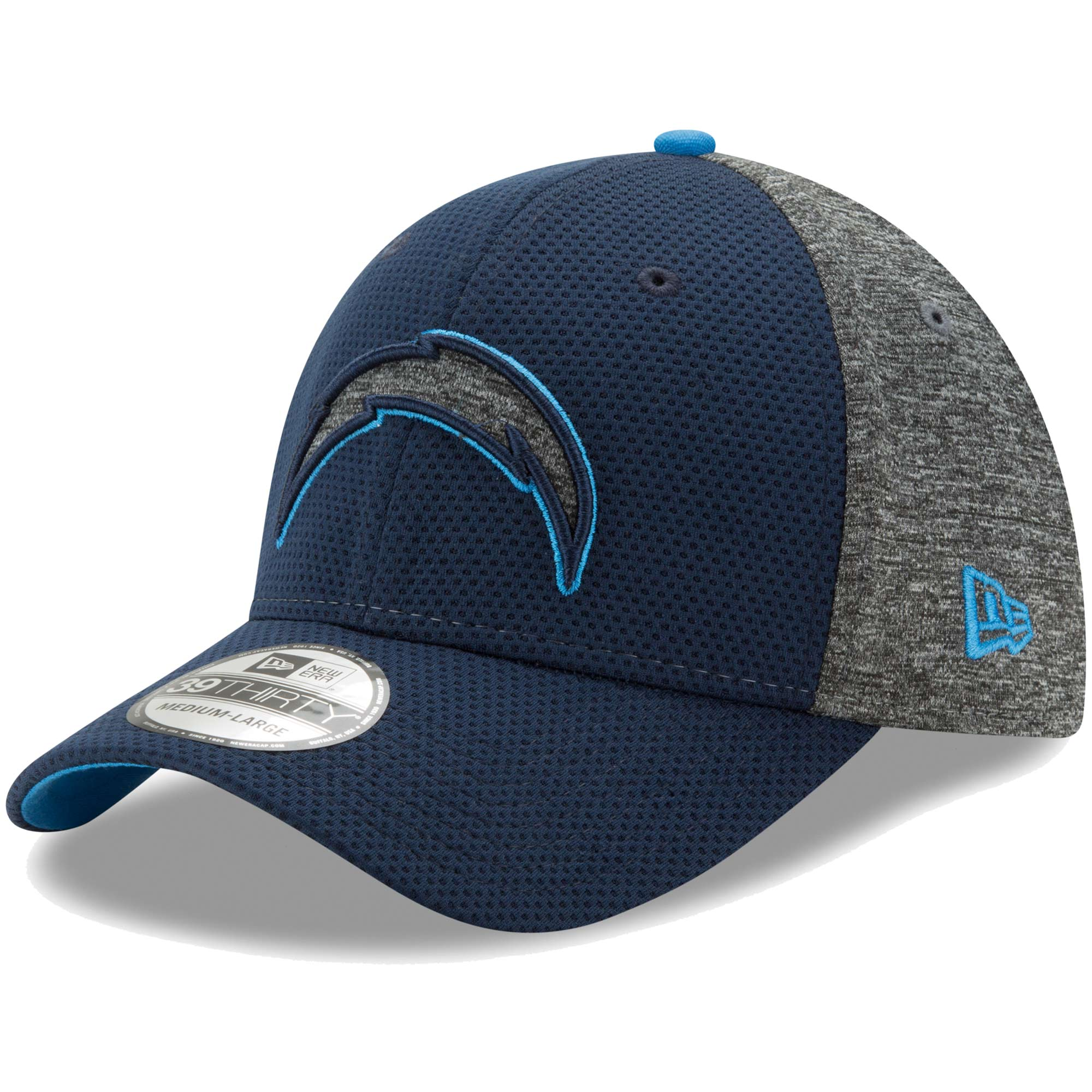 Los Angeles Chargers New Era Fierce Fill Team Color 39THIRTY Flex Hat - Navy/Heathered Gray