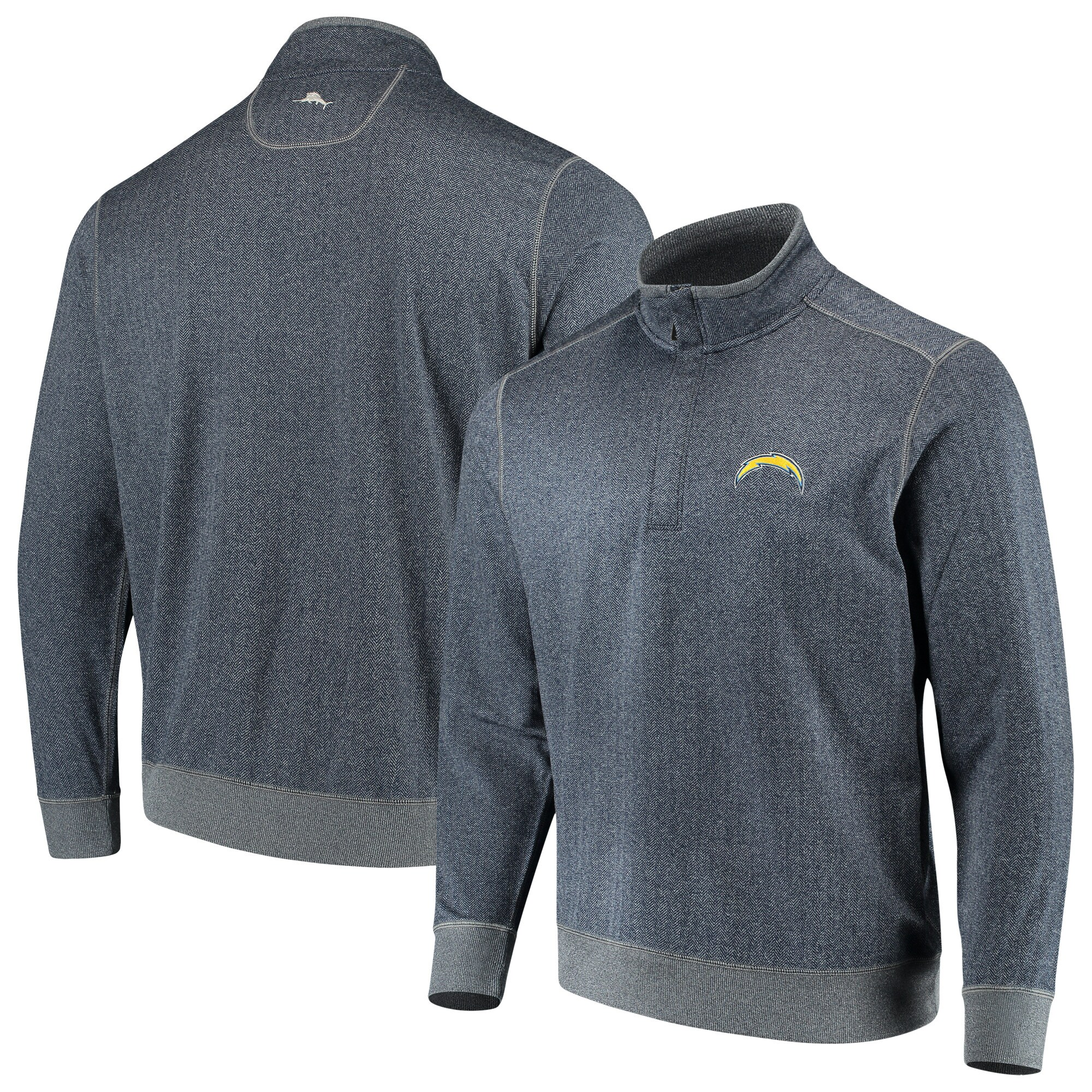 Los Angeles Chargers Tommy Bahama ProFormance Half-Zip Pullover Jacket - Heathered Navy