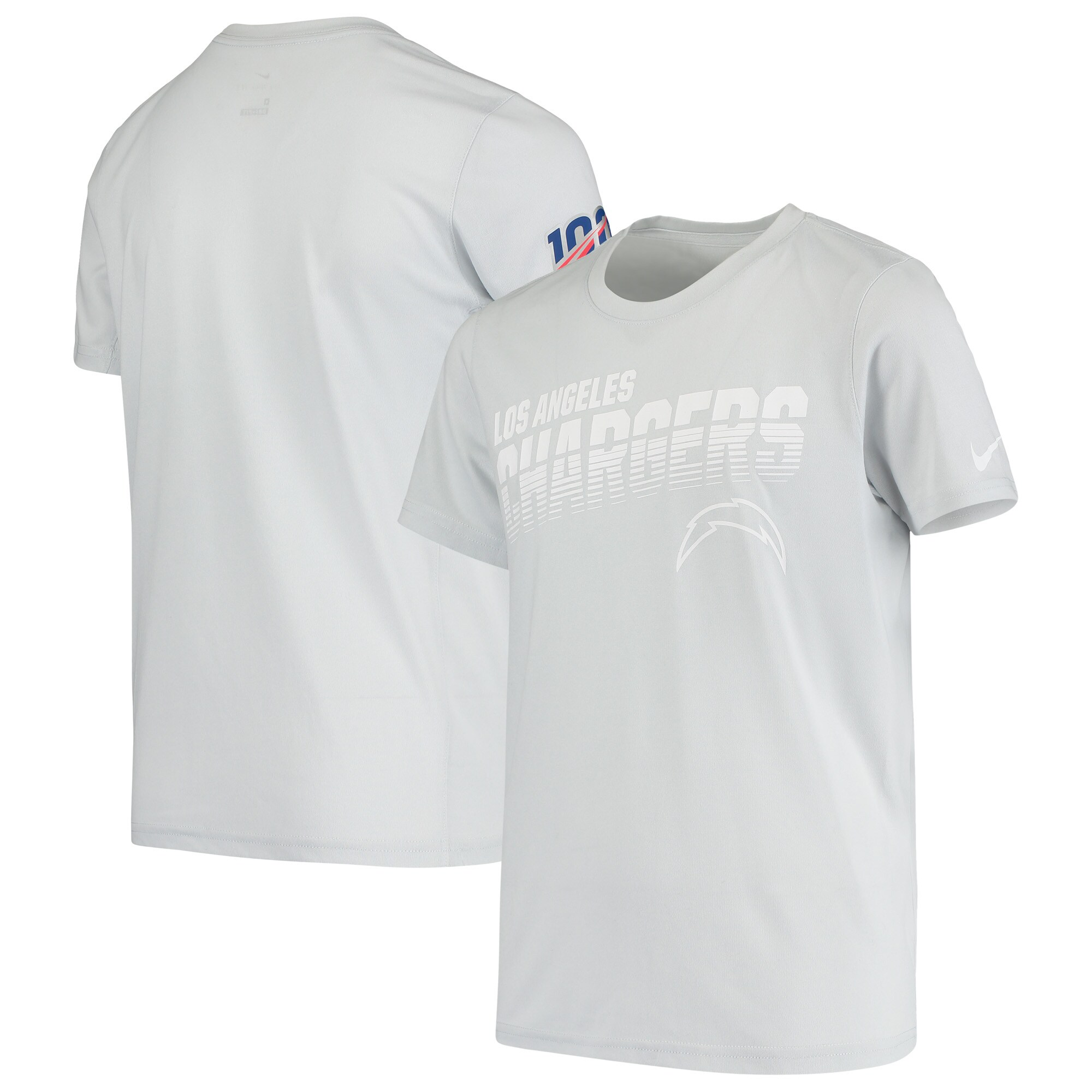 Los Angeles Chargers Nike Youth NFL 100 2019 Sideline Platinum Performance T-Shirt - White