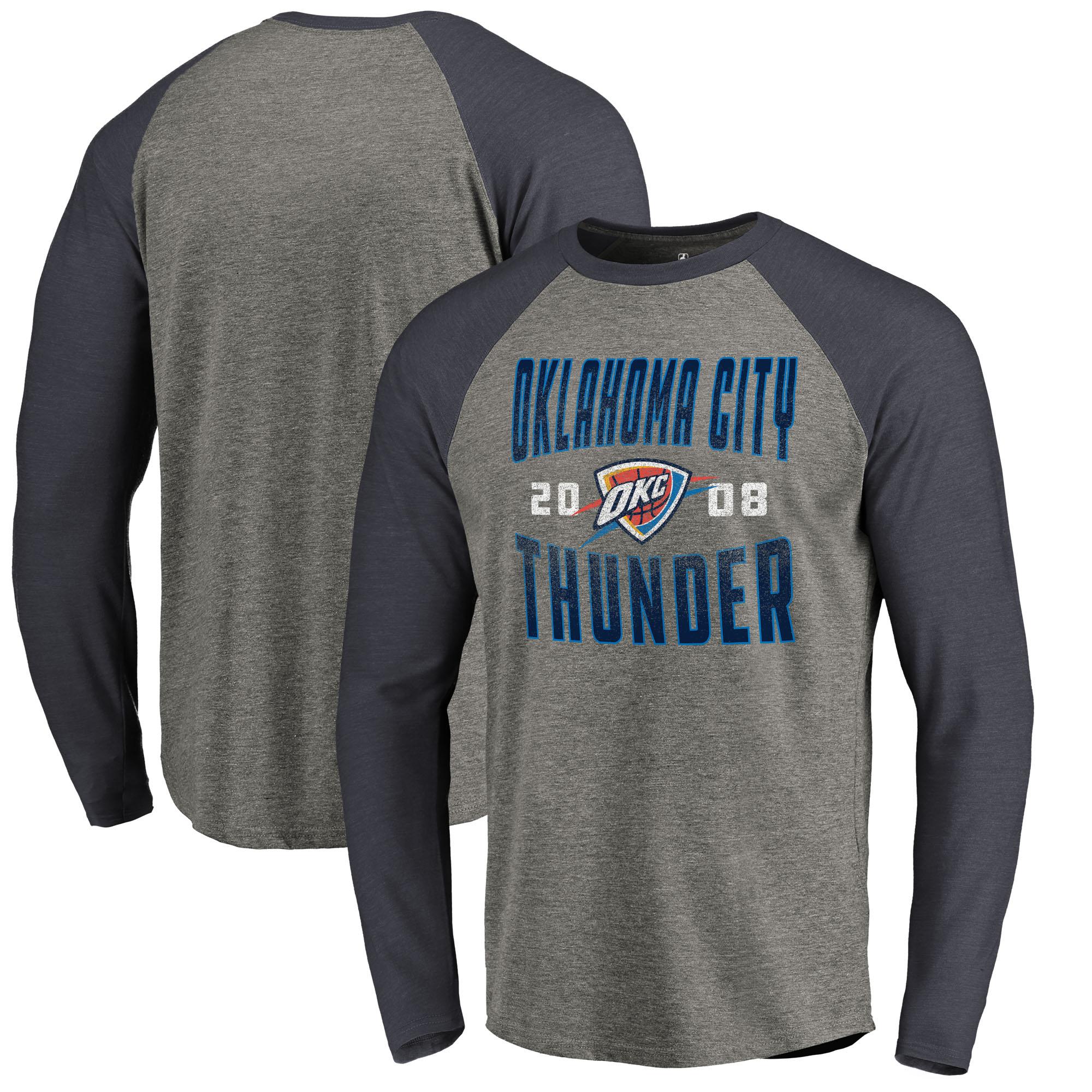 Oklahoma City Thunder Fanatics Branded Antique Stack Long Sleeve Tri-Blend Raglan T-Shirt - Ash