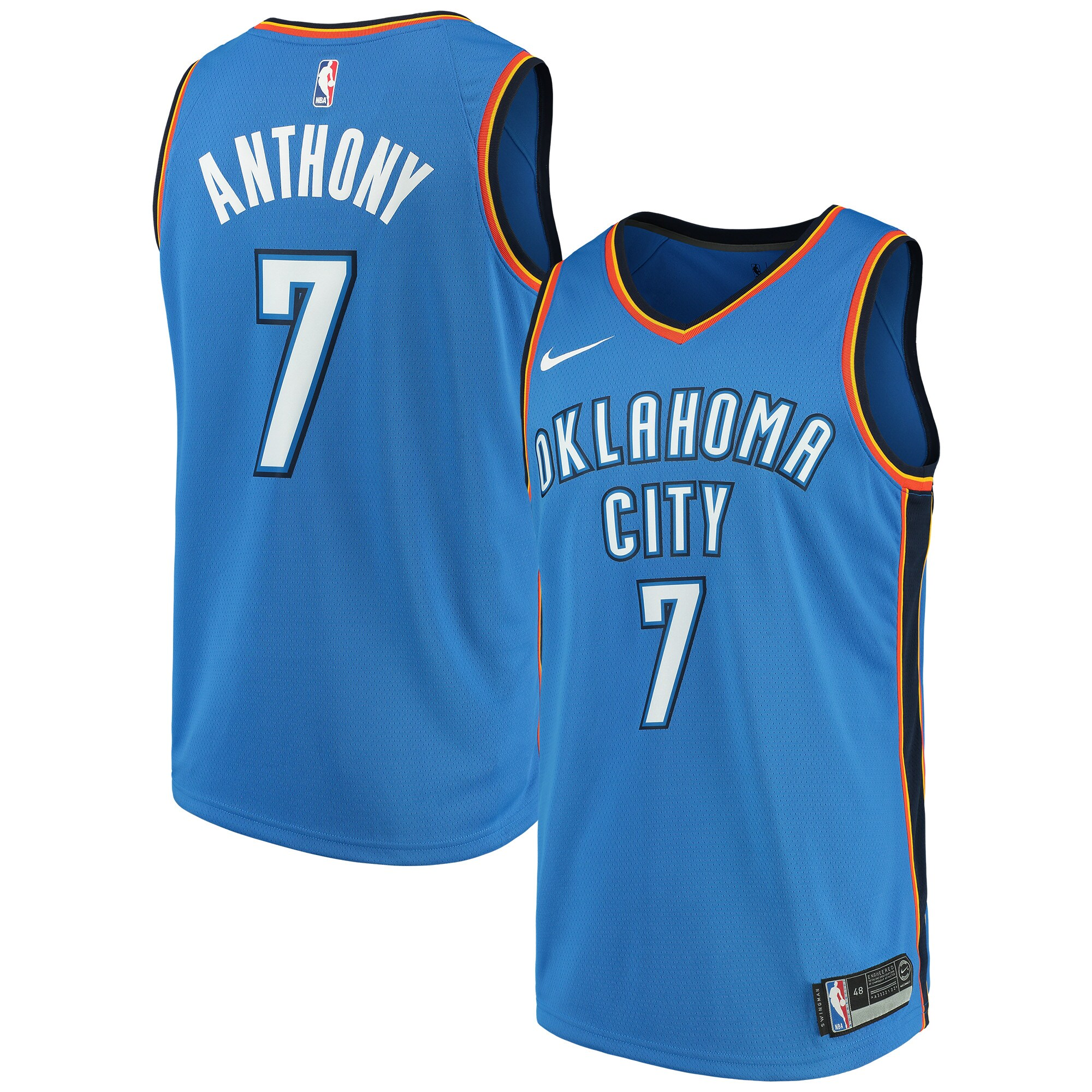 Carmelo Anthony Oklahoma City Thunder Nike Swingman Jersey Blue - Icon Edition