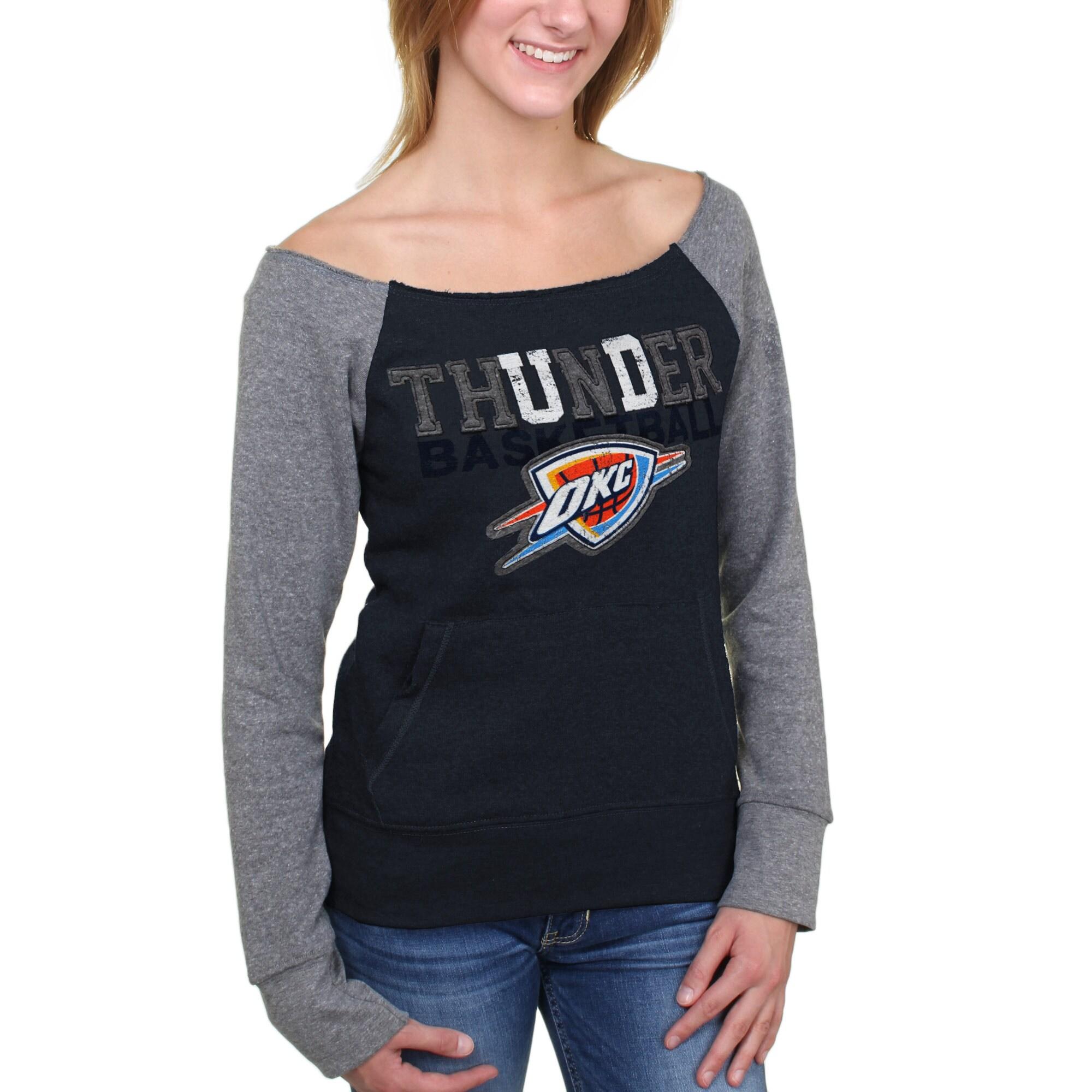 Oklahoma City Thunder 5th and Ocean Women's Hardwood Classics Fleece Long Sleeve T-Shirt - Navy Blue