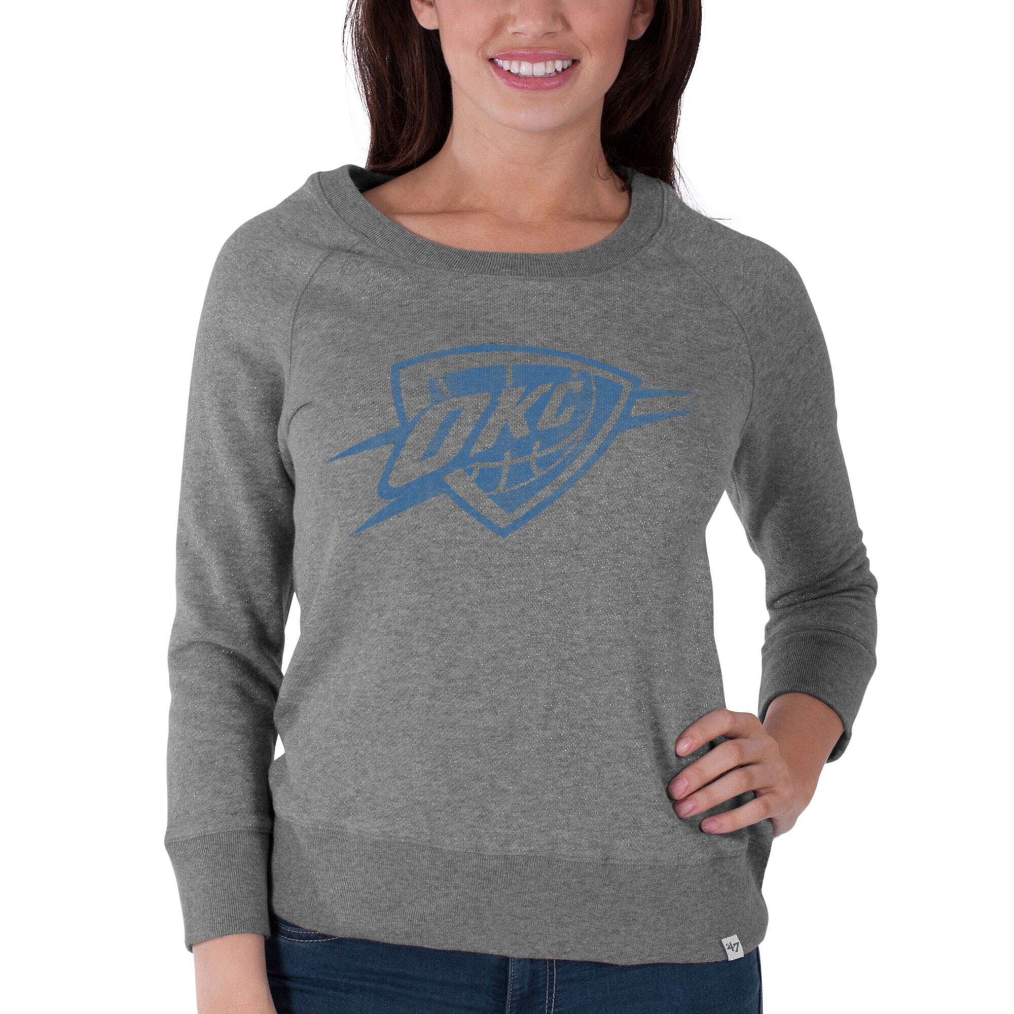 Oklahoma City Thunder '47 Brand Women's Glimmer Crew Tri-Blend Sweatshirt - Gray