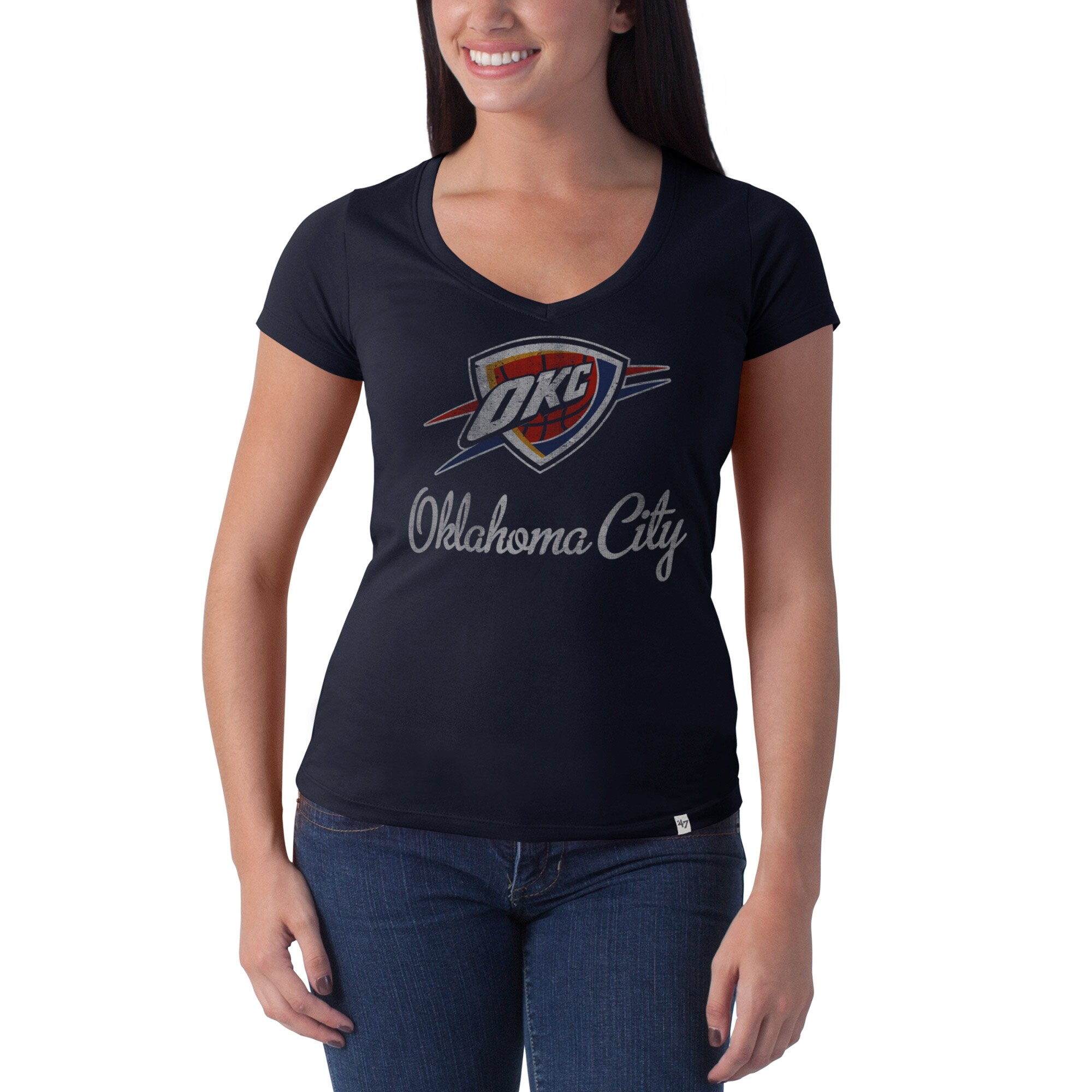 Oklahoma City Thunder '47 Brand Women's Current Logo Flanker V-Neck T-Shirt - Navy Blue
