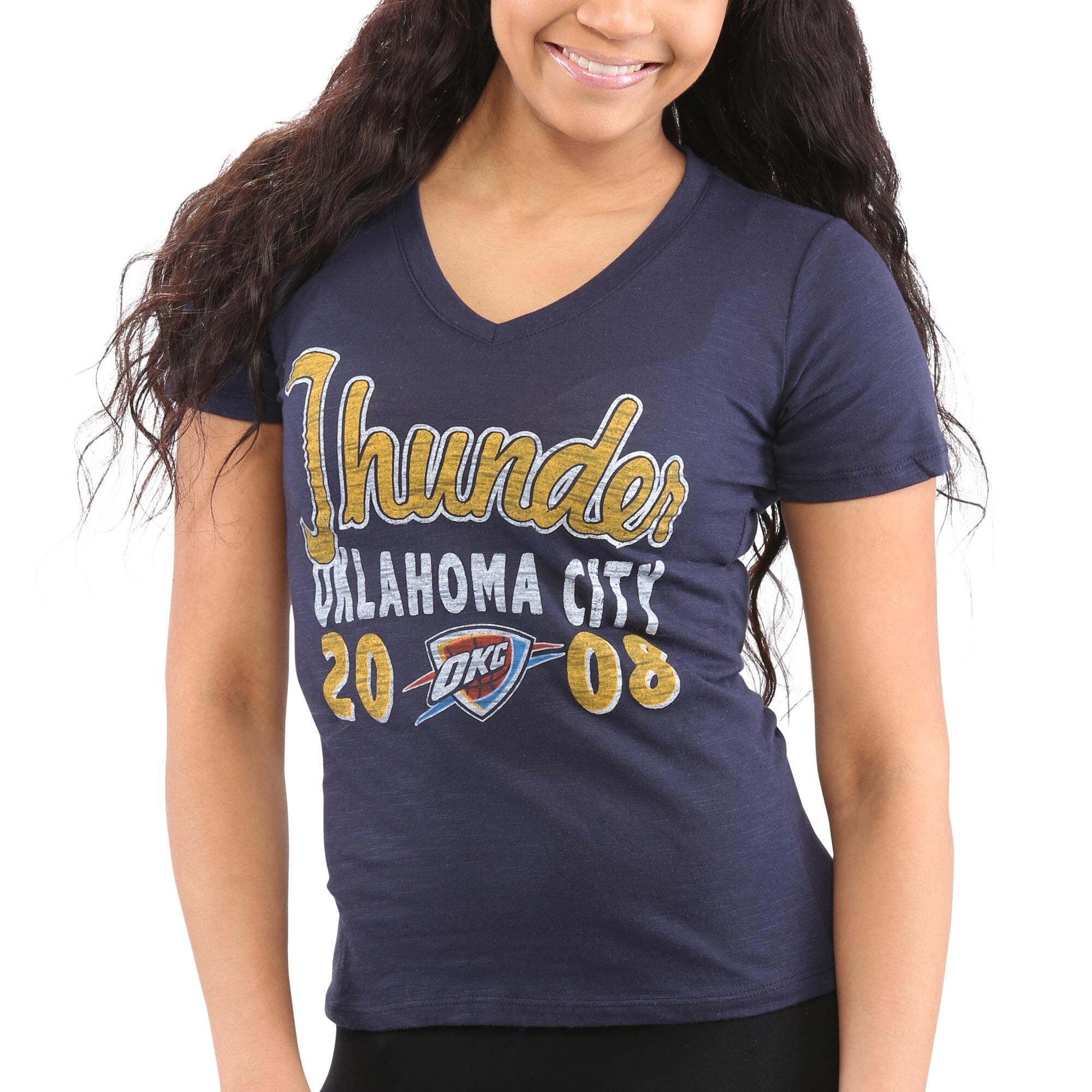 Oklahoma City Thunder Women's Lifestyle Burnout Slim-Fit V-Neck T-Shirt - Navy Blue