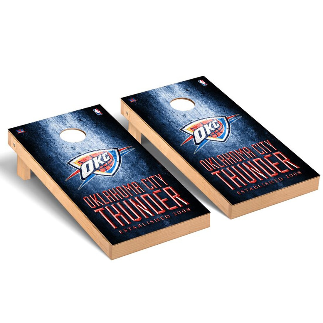 Oklahoma City Thunder 2' x 4' Metal Museum Cornhole Board Tailgate Toss Set