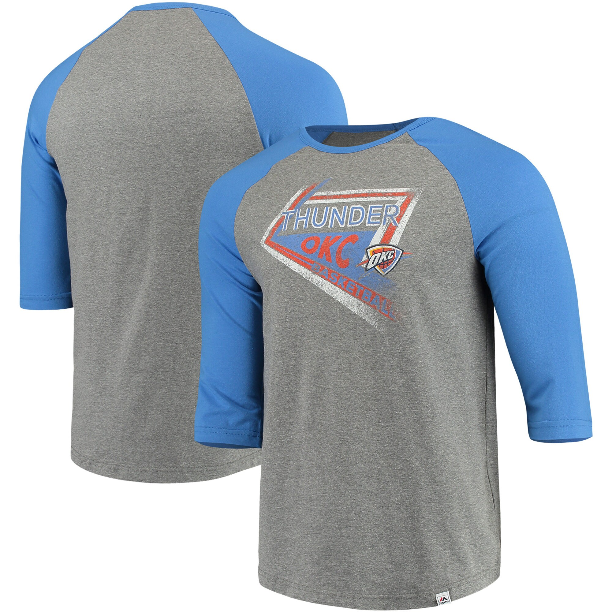 Oklahoma City Thunder Majestic Scoring Position Tri-Blend 3/4-Sleeve Raglan T-Shirt - Heathered Gray/Blue
