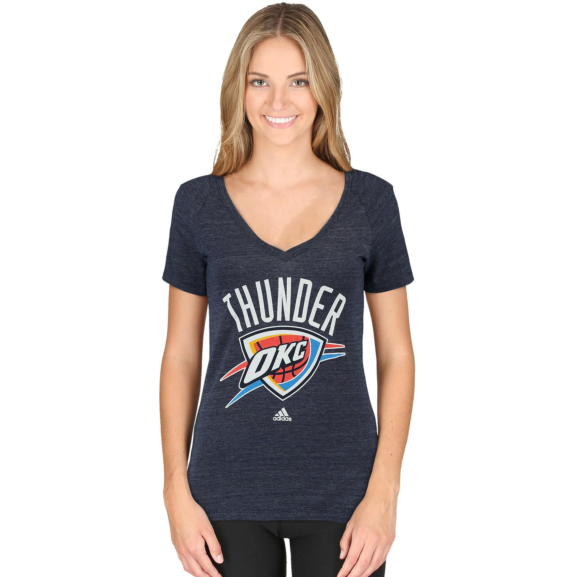 Oklahoma City Thunder adidas Women's Primary Logo Tri-Blend V-Neck T-Shirt - Navy Blue