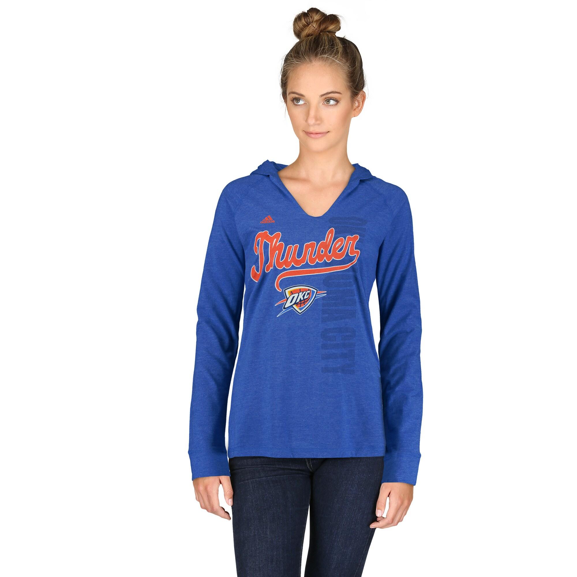 Oklahoma City Thunder adidas Women's Outline Script Long Sleeve Hoodie T-Shirt - Blue