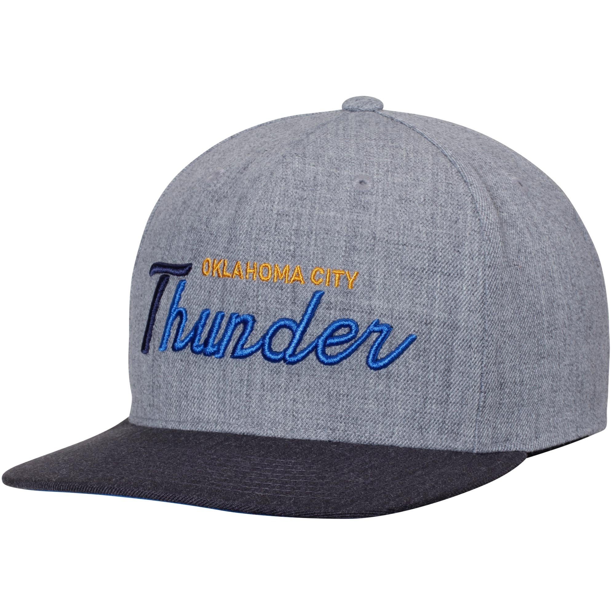 Oklahoma City Thunder Mitchell & Ness Tri-Pop Special Script Adjustable Snapback Hat - Gray