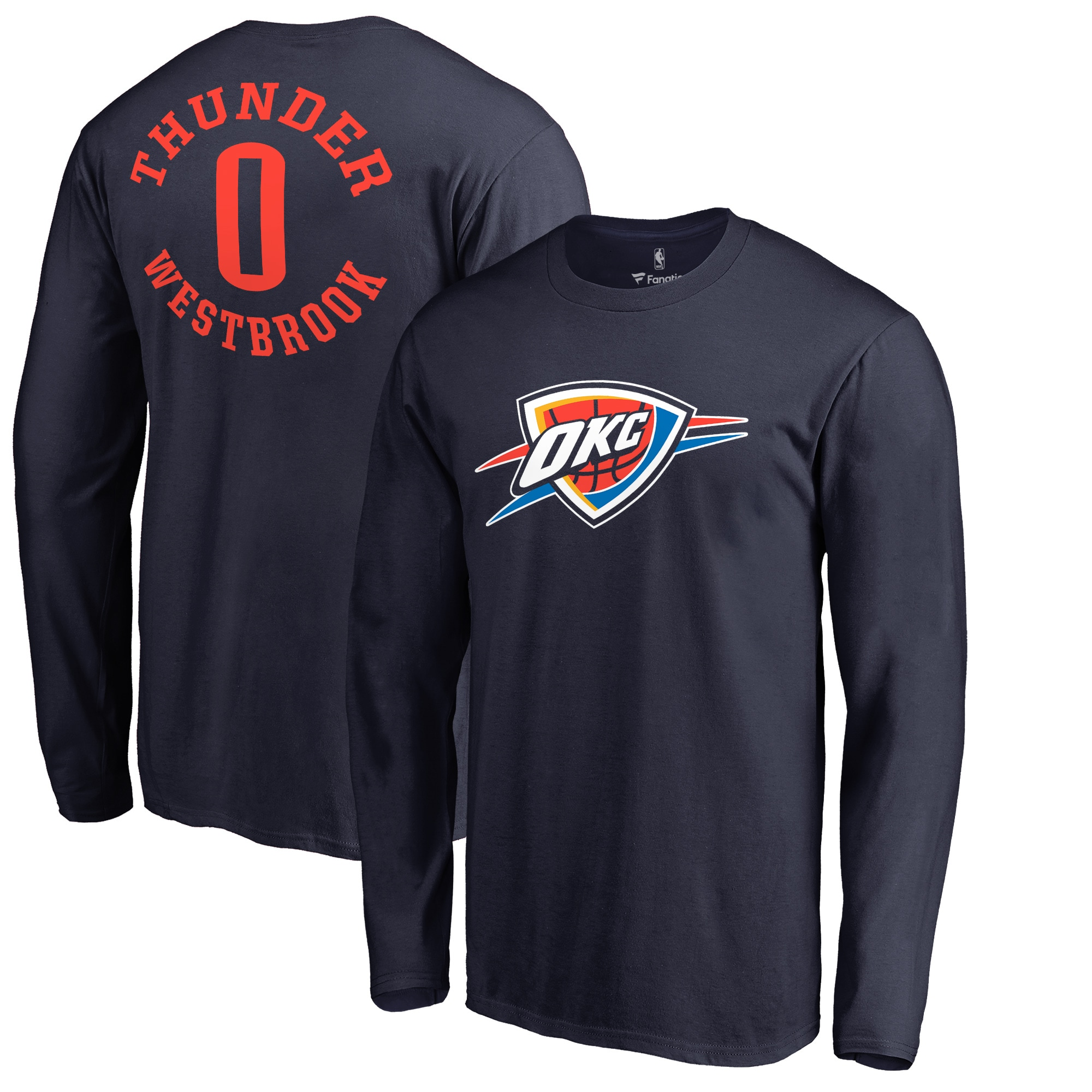 Russell Westbrook Oklahoma City Thunder Fanatics Branded Round About Name & Number Long Sleeve T-Shirt - Navy