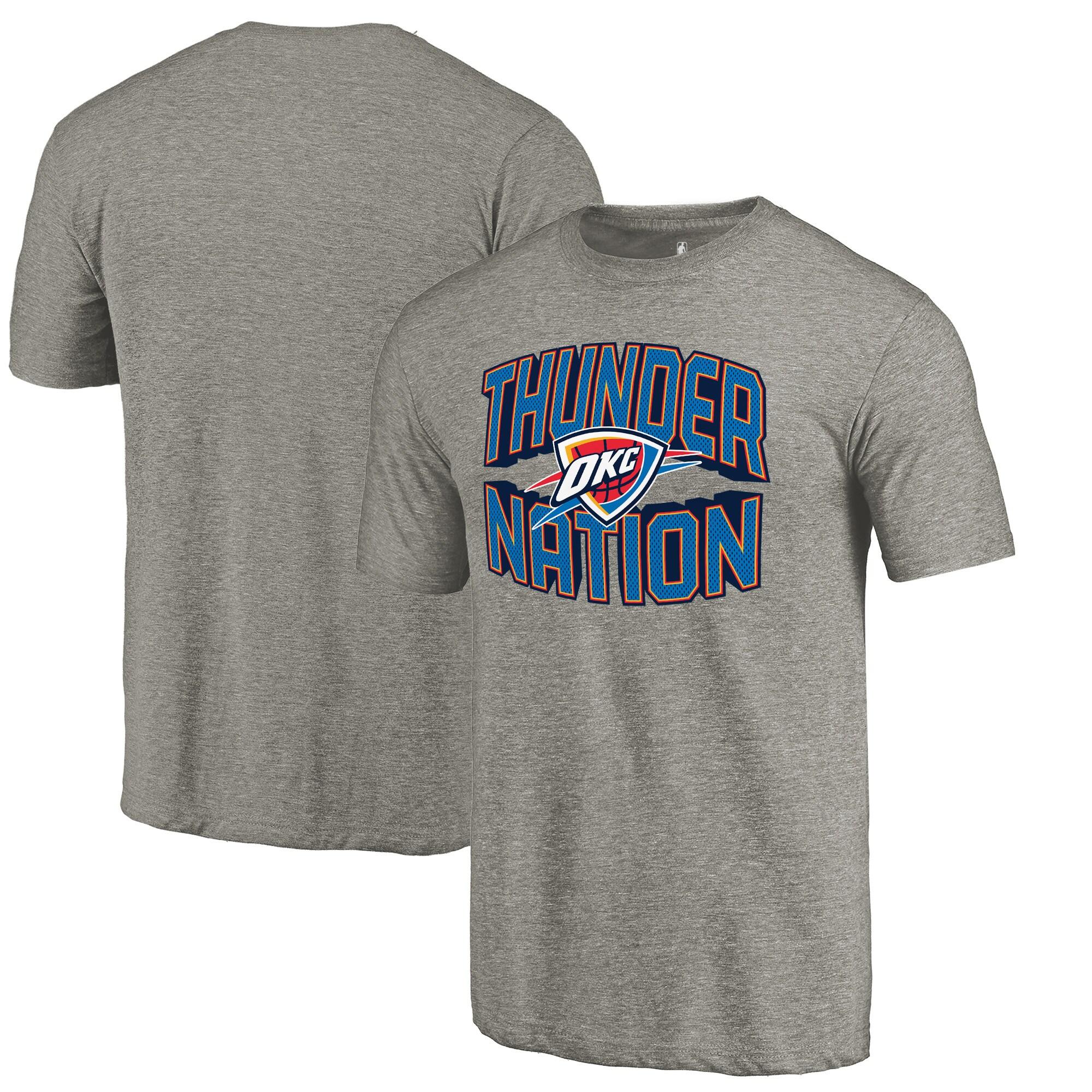 Oklahoma City Thunder Fanatics Branded Thunder Nation Hometown Collection Tri-Blend T-Shirt - Gray