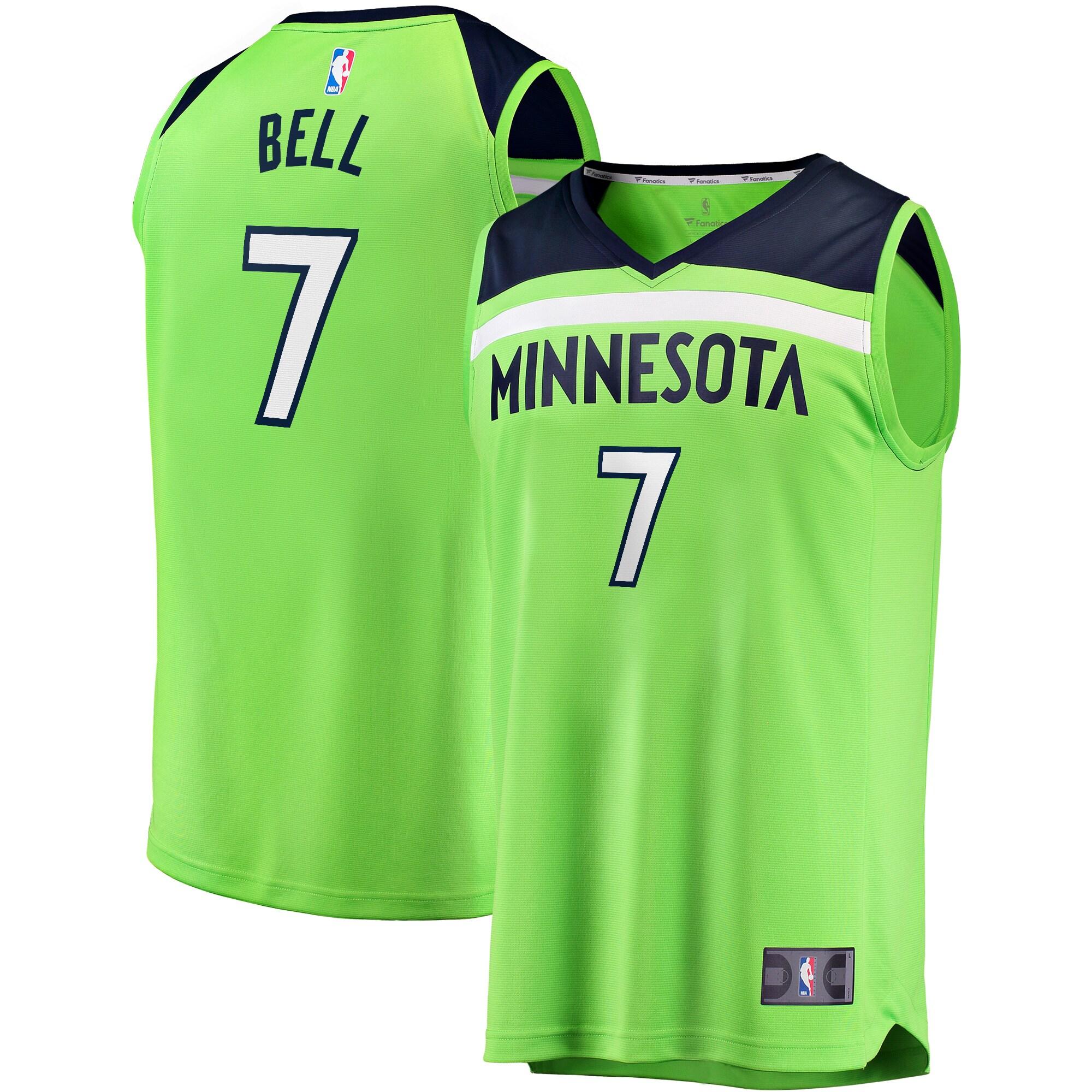 Jordan Bell Minnesota Timberwolves Fanatics Branded Fast Break Replica Player Jersey Green - Statement Edition