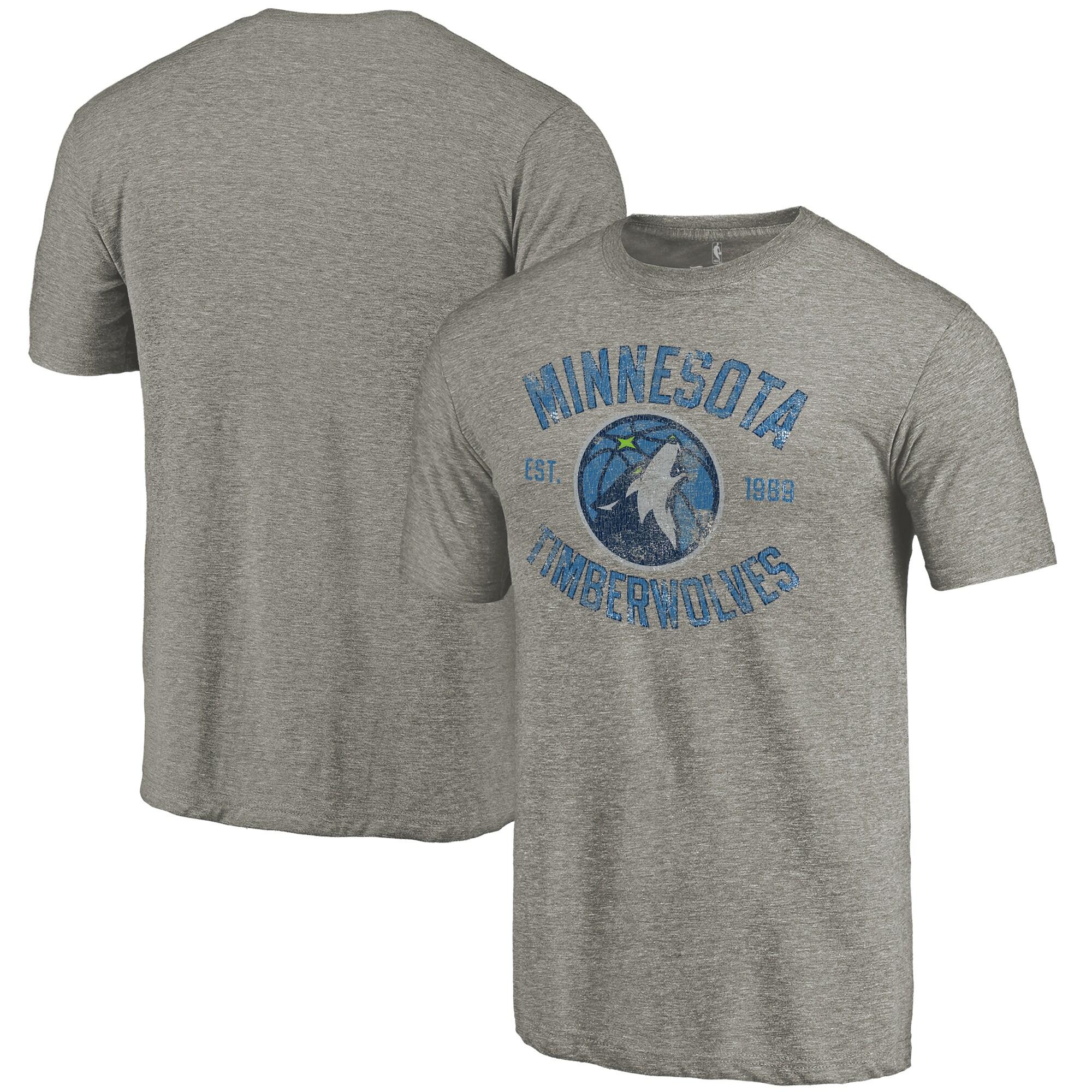 Minnesota Timberwolves Fanatics Branded Team Heritage Tri-Blend T-Shirt - Gray