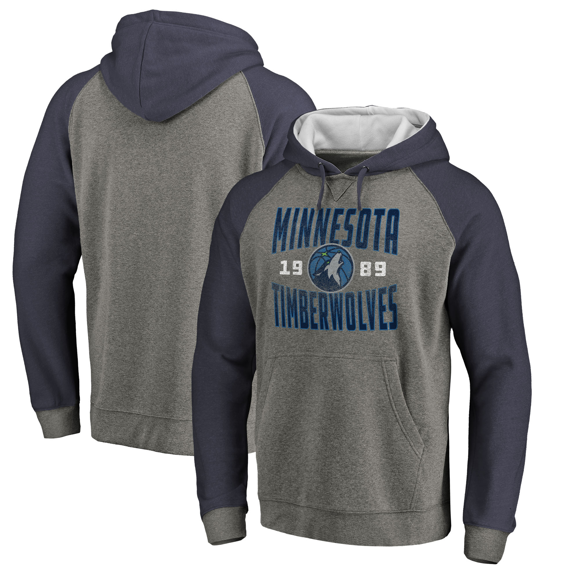 Minnesota Timberwolves Fanatics Branded Ash Antique Stack Tri-Blend Raglan Pullover Hoodie