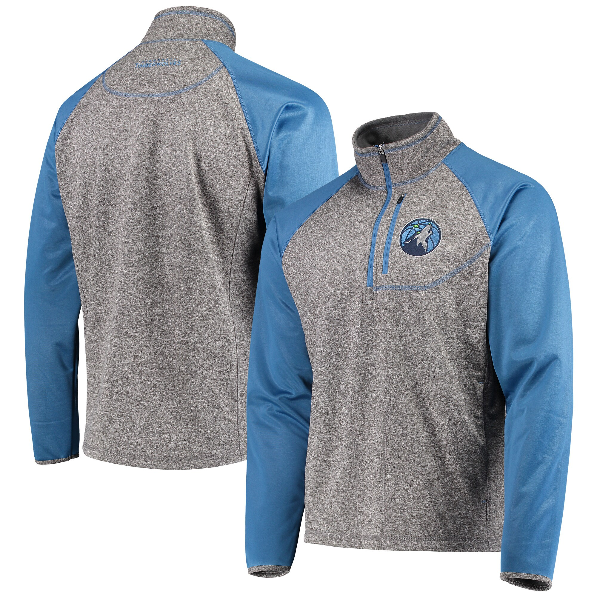 Minnesota Timberwolves G-III Sports by Carl Banks Mountain Trail Half-Zip Pullover Jacket - Gray/Blue