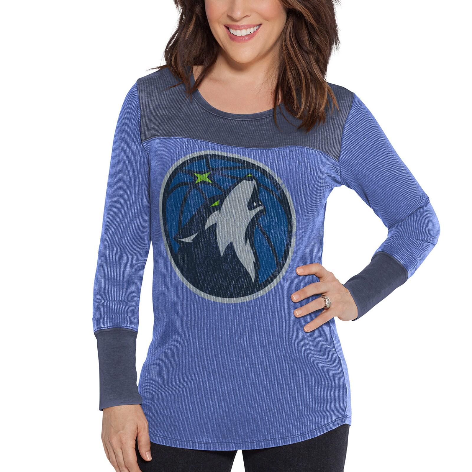 Minnesota Timberwolves G-III Sports by Carl Banks Women's Blindside Long Sleeve Thermal T-Shirt - Blue/Black
