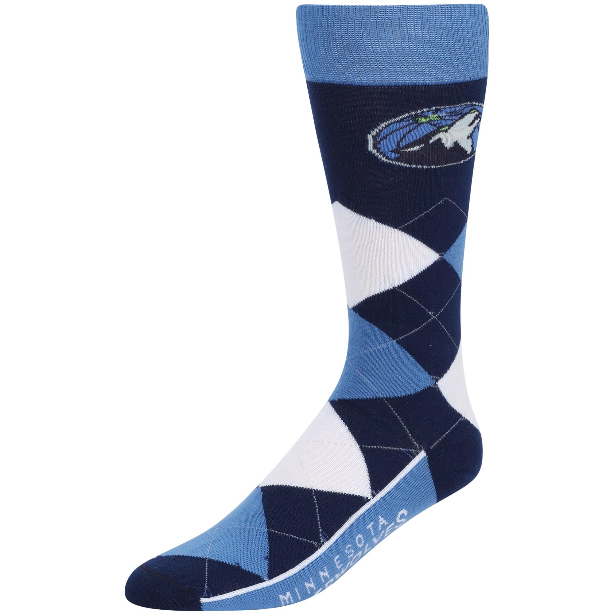 Minnesota Timberwolves For Bare Feet Argyle Crew Socks - Blue