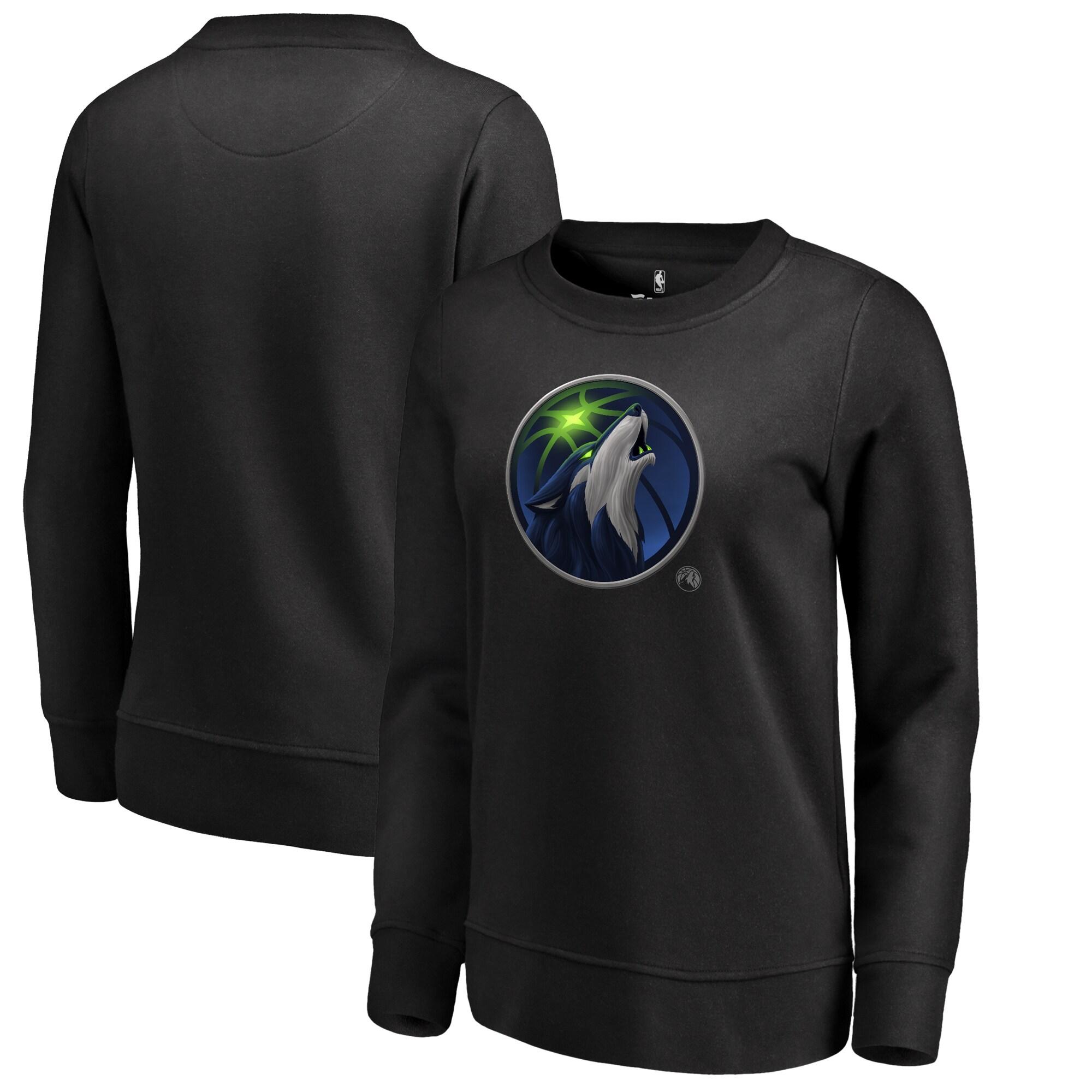 Minnesota Timberwolves Fanatics Branded Women's Midnight Mascot Pullover Sweatshirt - Black