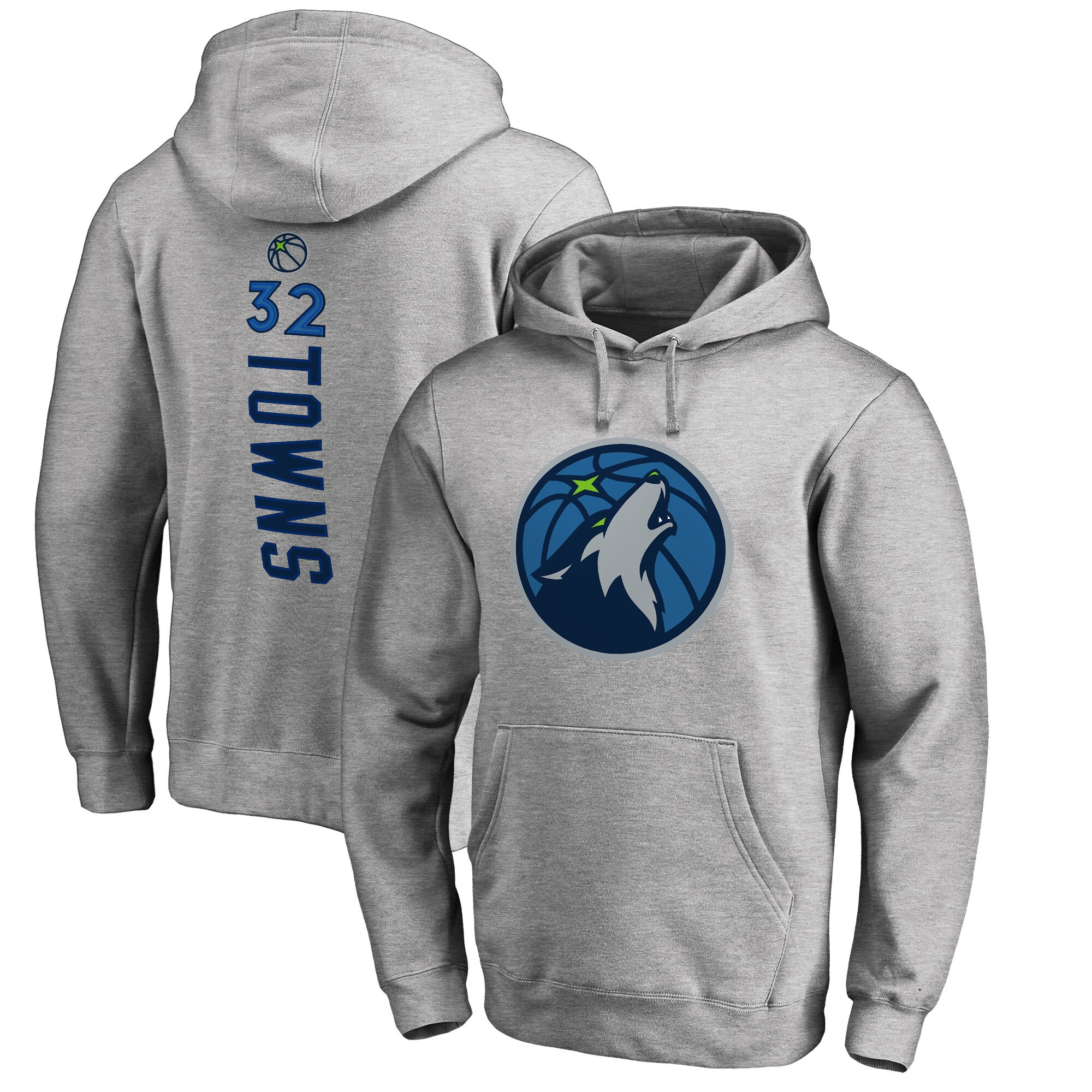 Karl-Anthony Towns Minnesota Timberwolves Fanatics Branded Backer Name & Number Pullover Hoodie - Gray