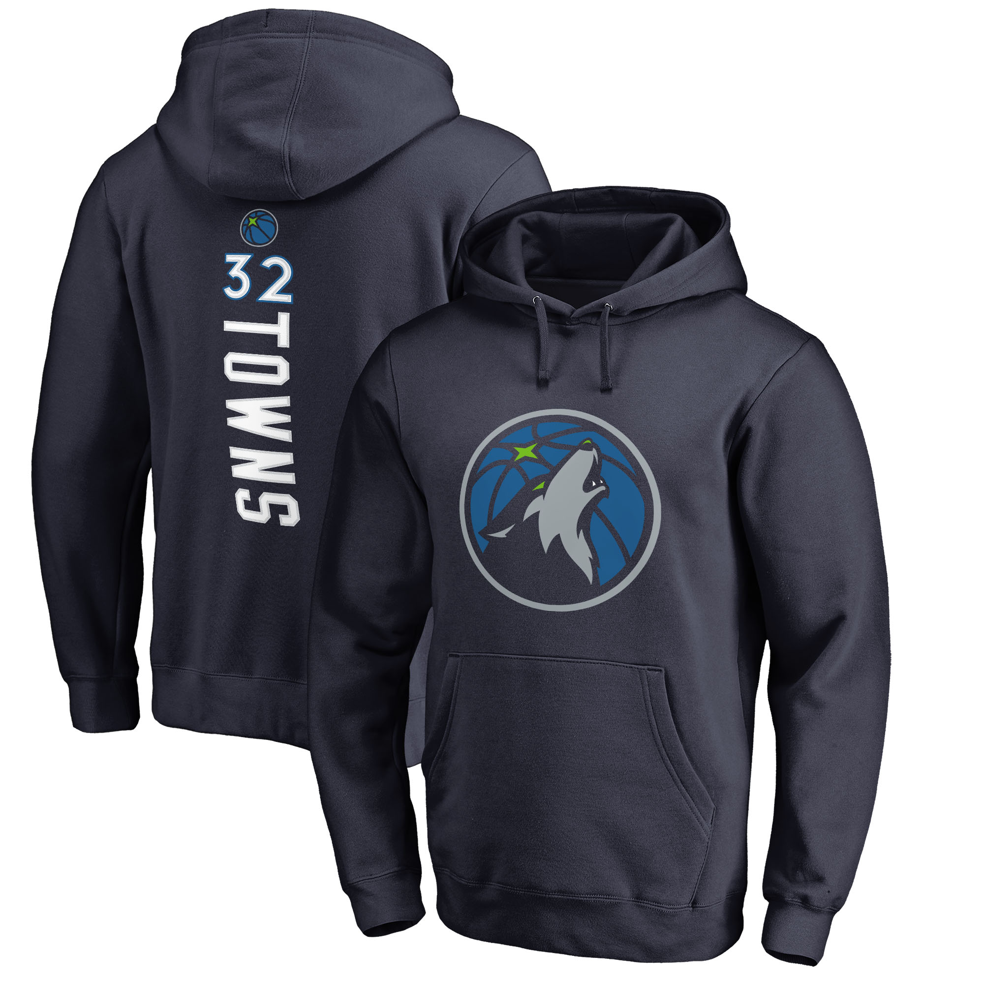 Karl-Anthony Towns Minnesota Timberwolves Fanatics Branded Backer Name & Number Pullover Hoodie - Navy