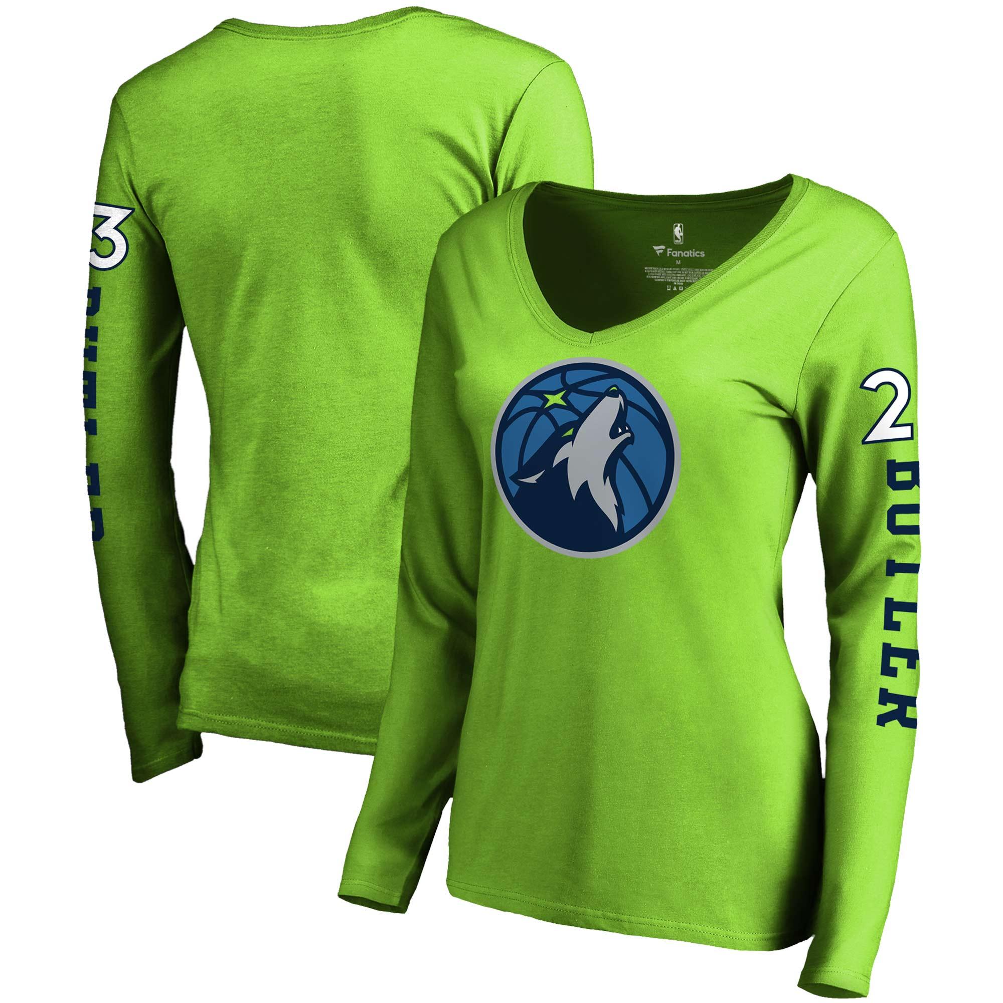 Jimmy Butler Minnesota Timberwolves Fanatics Branded Women's Team Idol Name & Number Long Sleeve V-Neck T-Shirt - Neon Green
