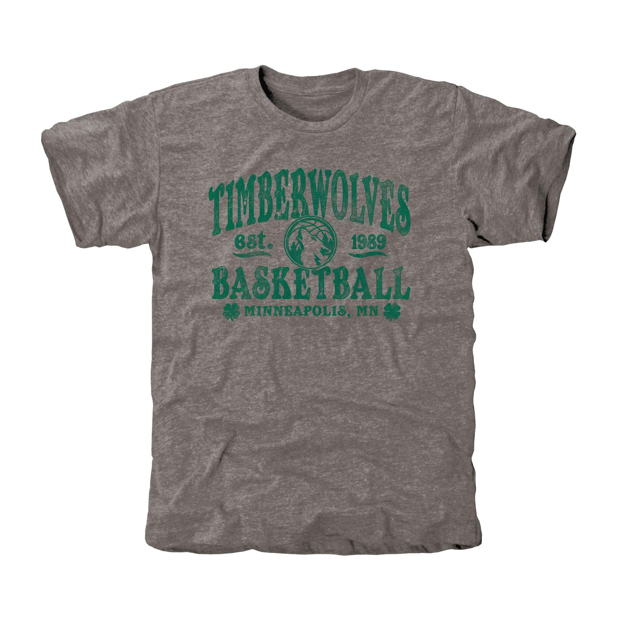 Minnesota Timberwolves St. Patrick's Day Blarney Tri-Blend T-Shirt - Ash