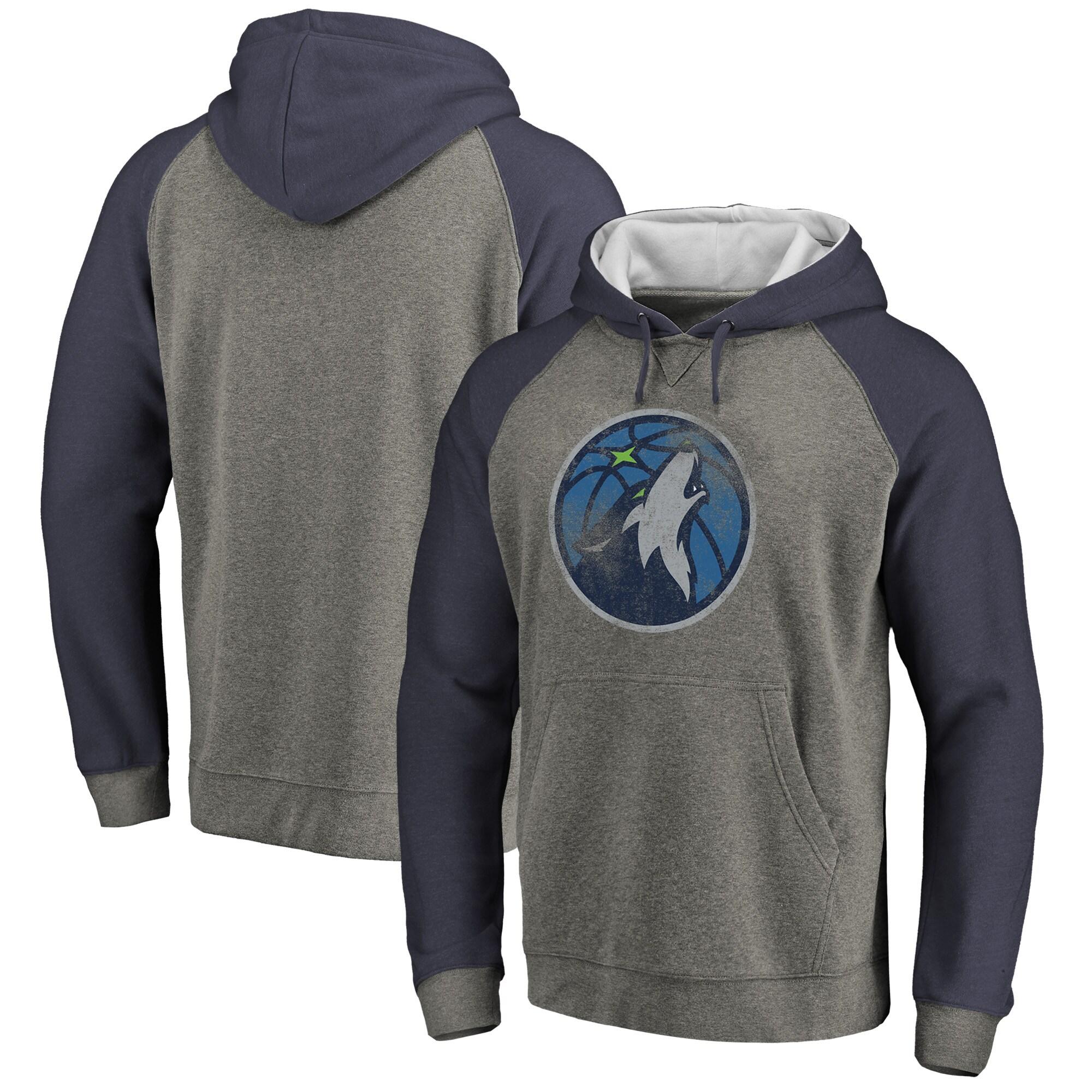 Minnesota Timberwolves Fanatics Branded Distressed Logo Tri-Blend Pullover Hoodie - Ash/Navy