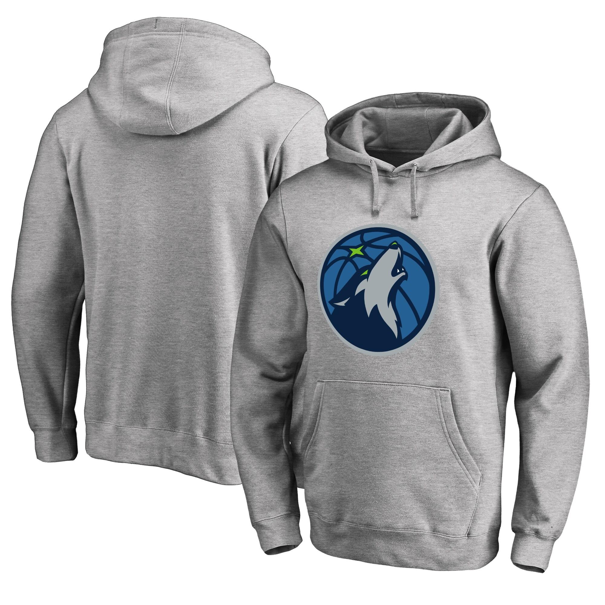 Minnesota Timberwolves Fanatics Branded Big & Tall Primary Logo Pullover Hoodie - Ash