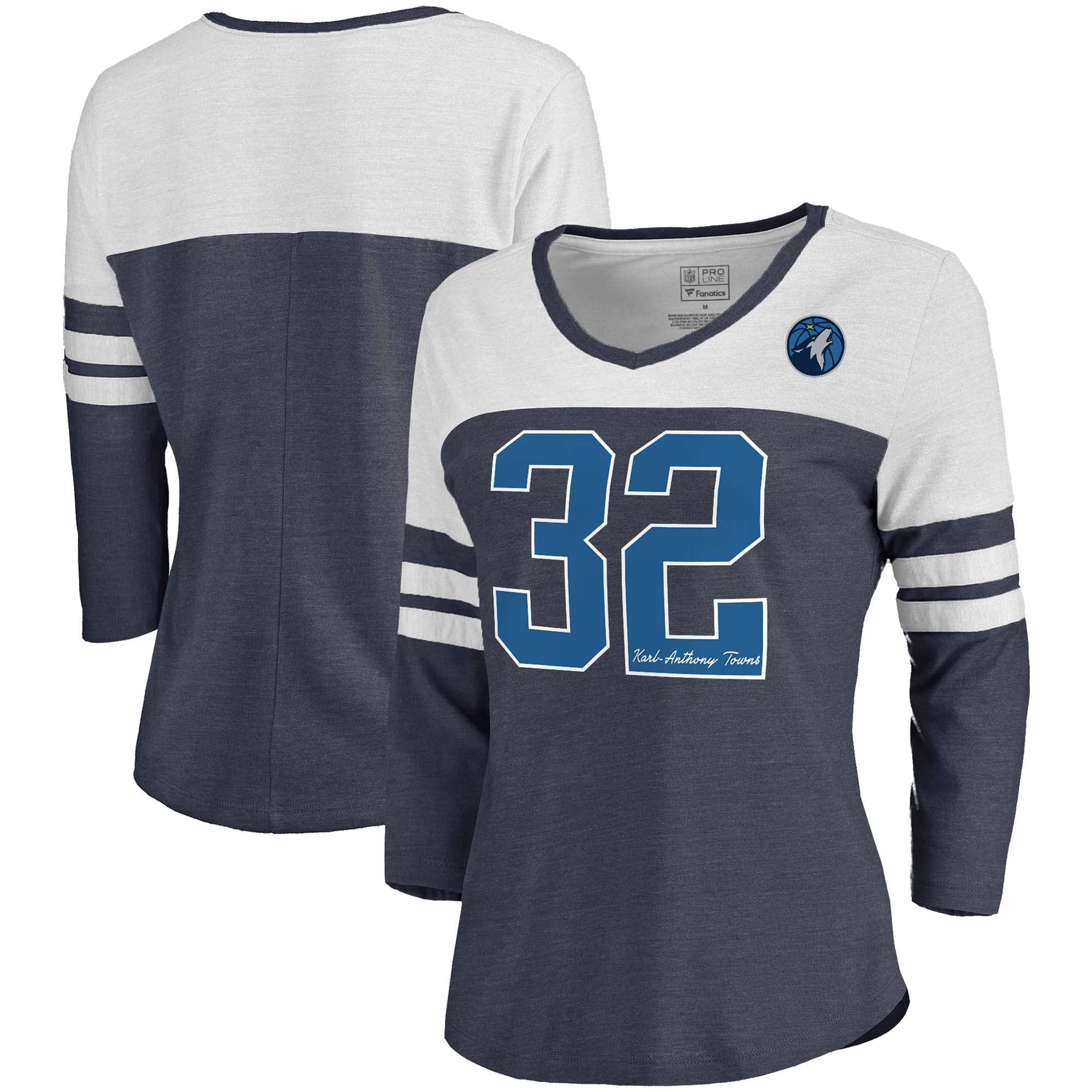 Karl-Anthony Towns Minnesota Timberwolves Fanatics Branded Women's Starstruck Name & Number Tri-Blend 3/4-Sleeve V-Neck T-Shirt - Navy