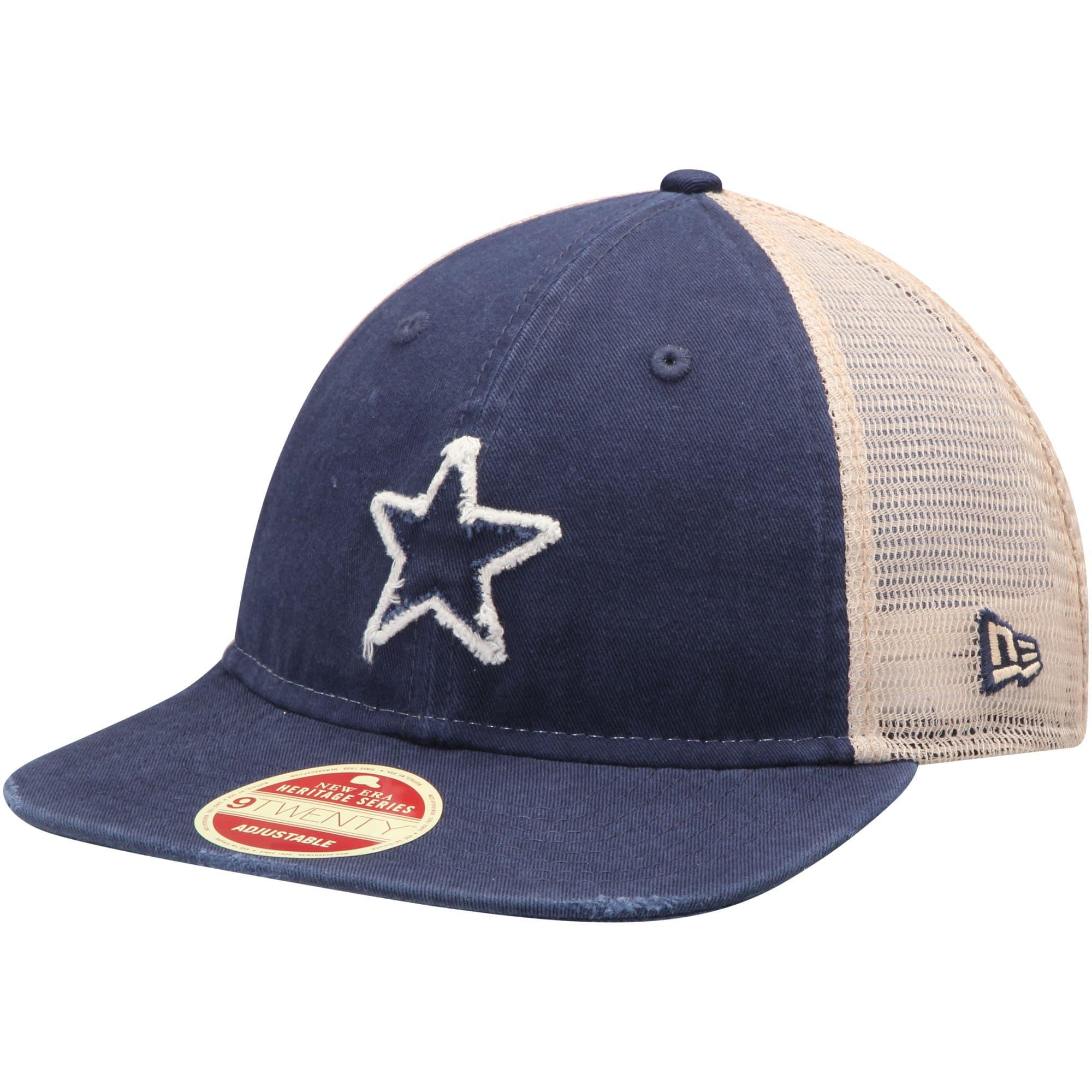 Dallas Cowboys New Era Frayed Twill 2 9TWENTY Adjustable Hat - Navy/Natural