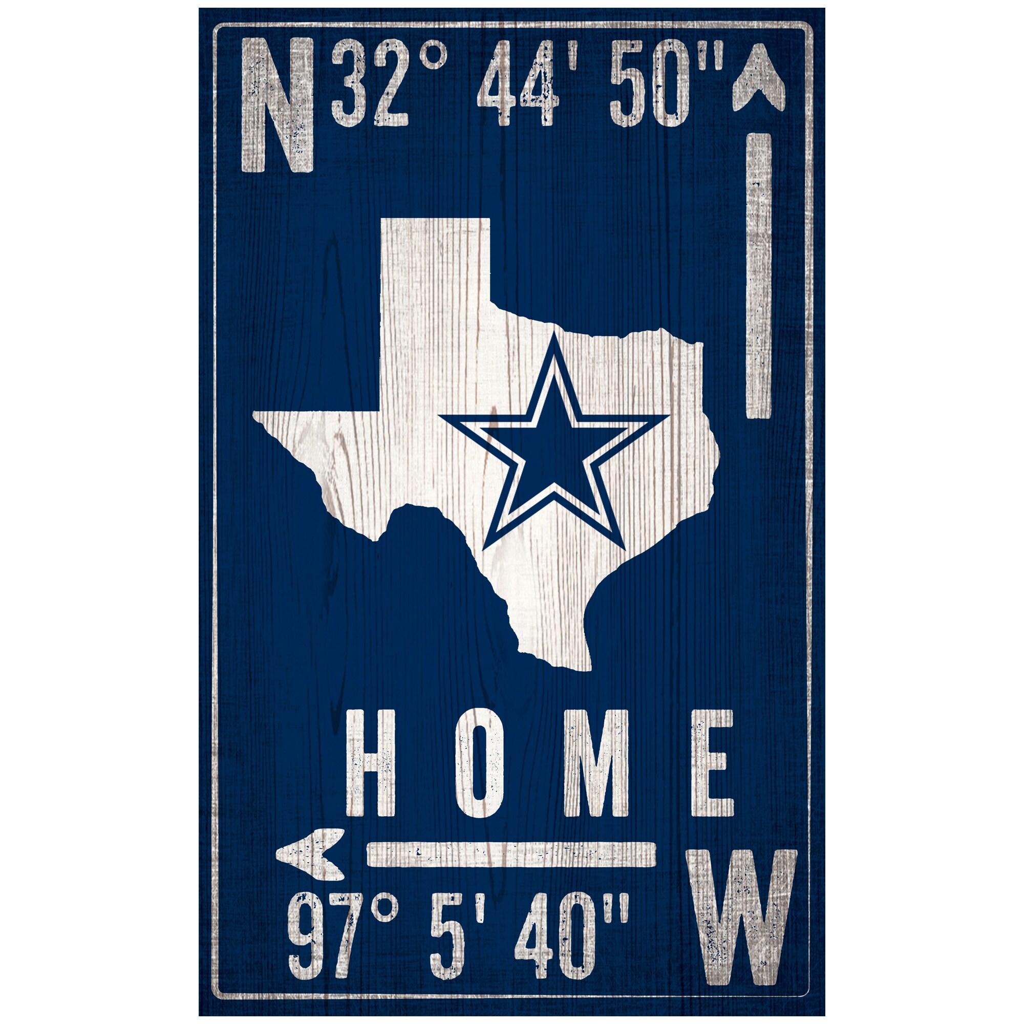"""Dallas Cowboys 11"""" x 19"""" Coordinate Sign"""