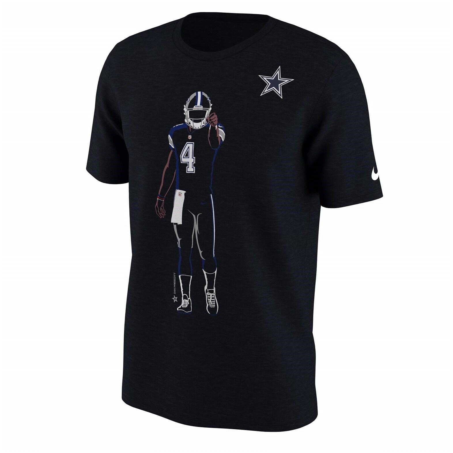 Dak Prescott Dallas Cowboys Nike Player Silhouette 2.0 Name & Number T-Shirt - Black
