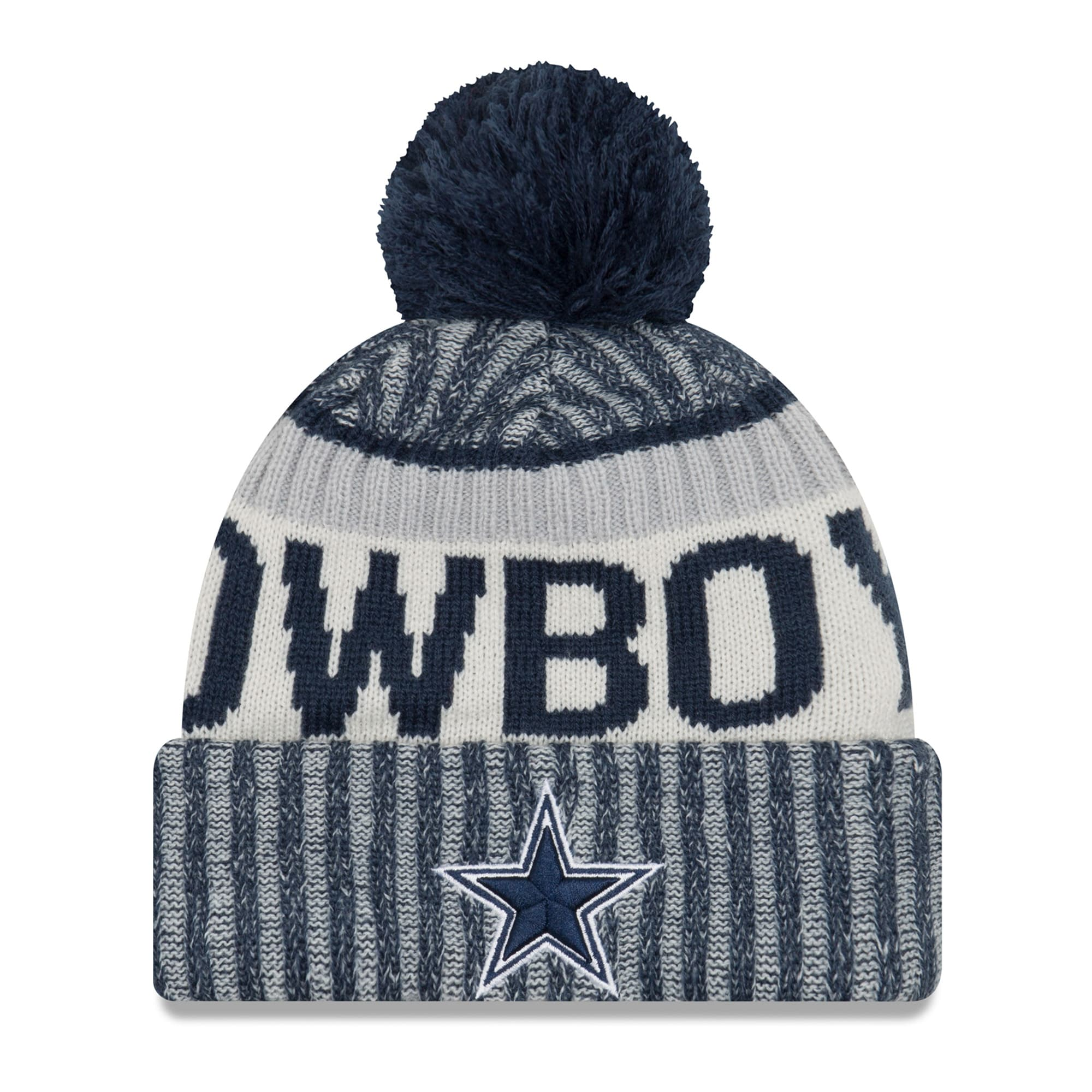 Dallas Cowboys New Era Youth 2017 Sideline Official Sport Knit Hat - Navy
