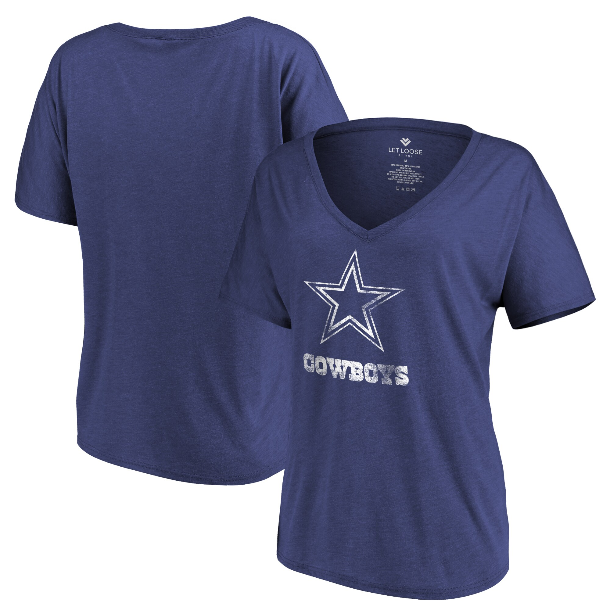 Dallas Cowboys Let Loose by RNL Women's Distressed Primary V-Neck T-Shirt - Navy