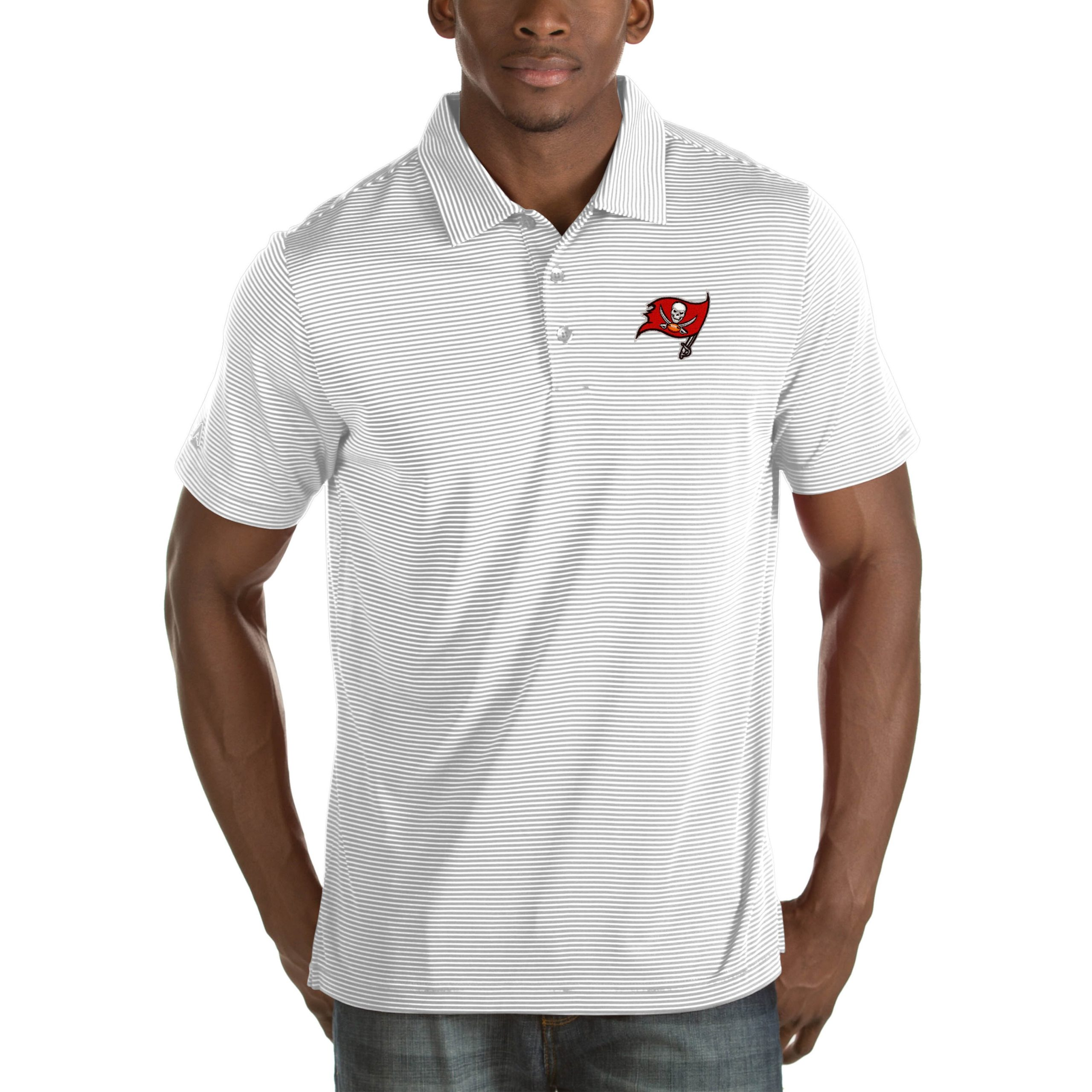 Tampa Bay Buccaneers Antigua Quest Big & Tall Polo - White