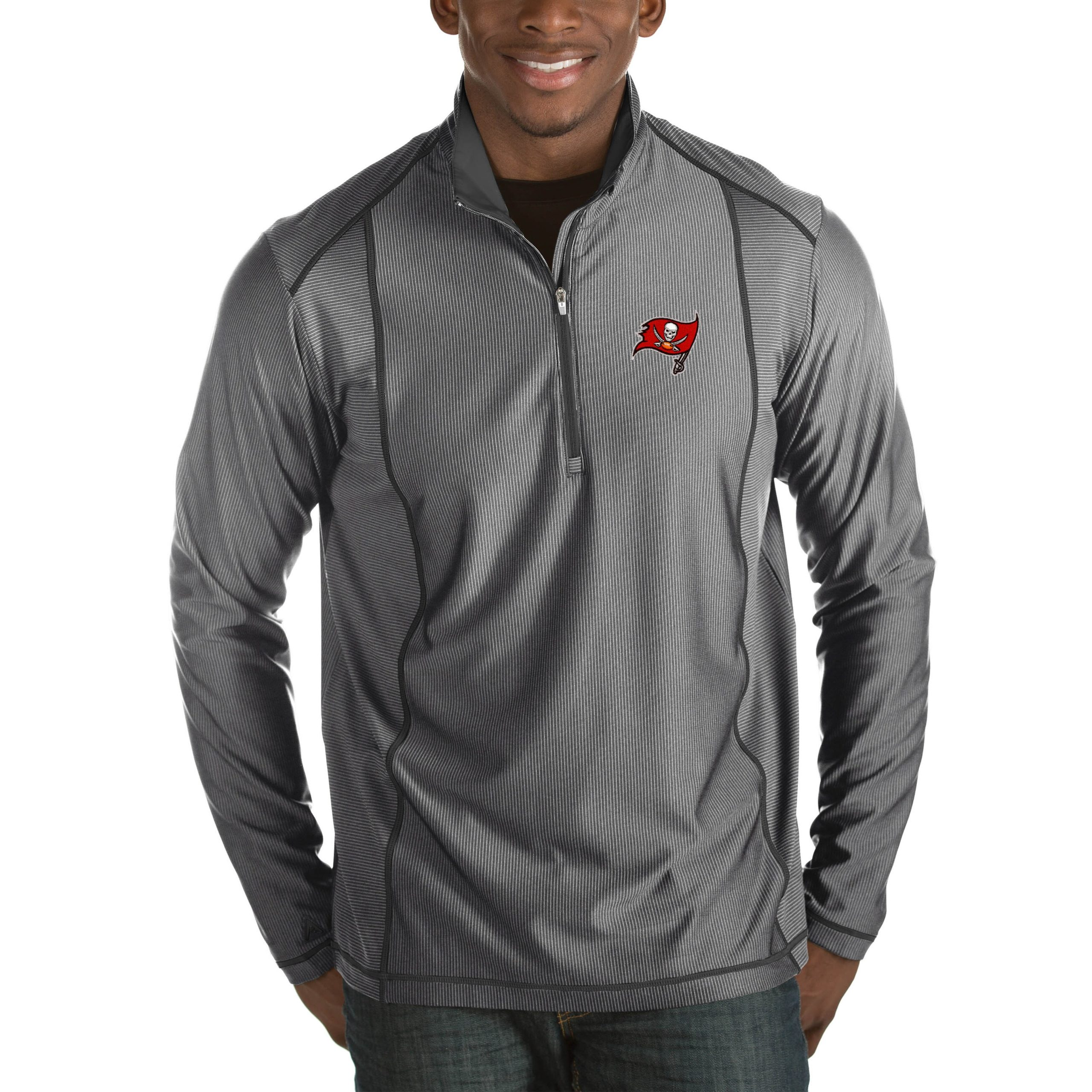 Tampa Bay Buccaneers Antigua Tempo Big & Tall Half-Zip Pullover Jacket - Heather Charcoal