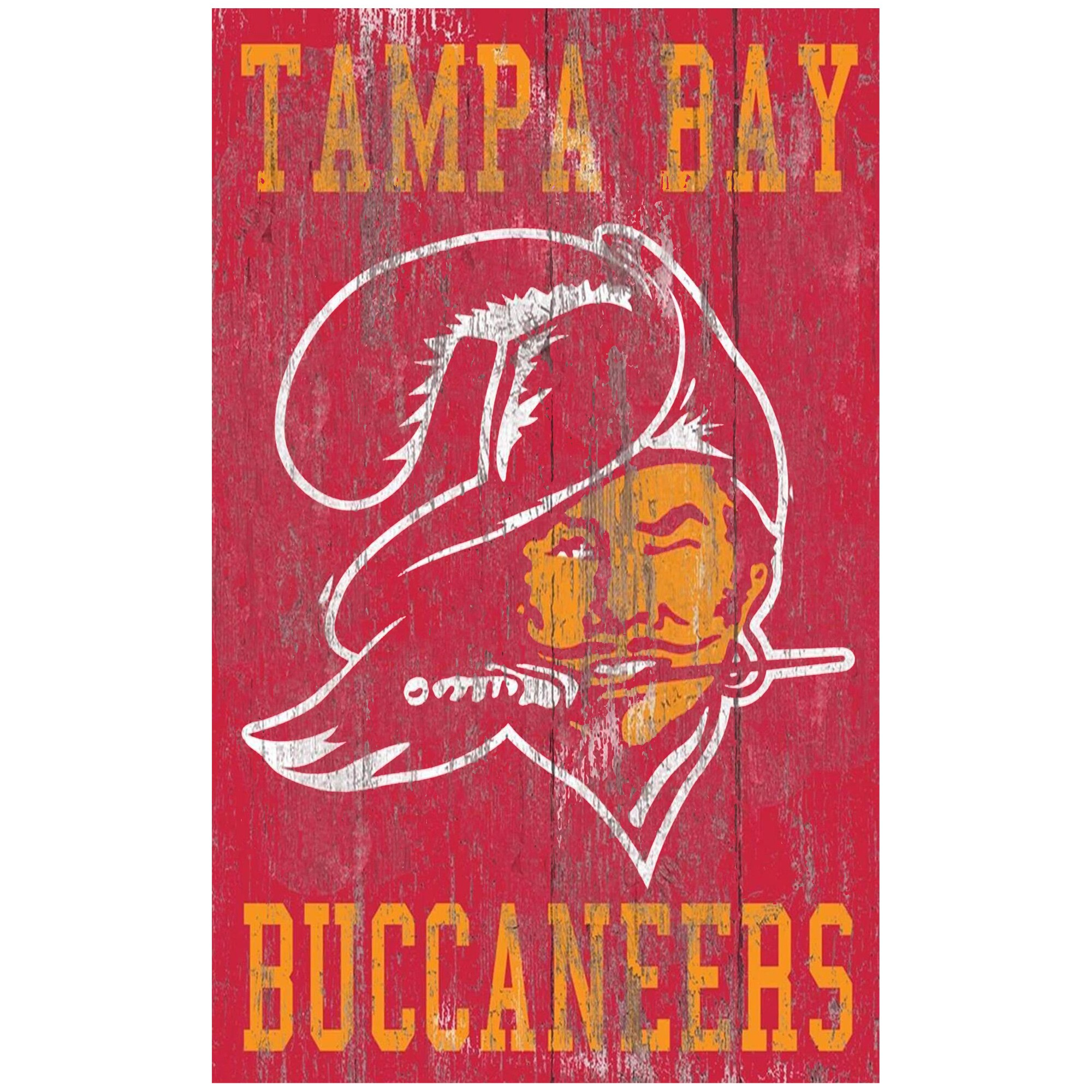 Tampa Bay Buccaneers 11'' x 19'' Heritage Distressed Logo Sign