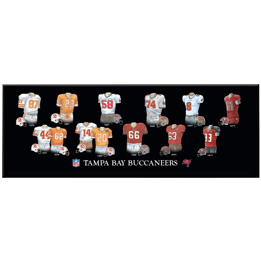 Tampa Bay Buccaneers 8'' x 24'' Uniform Evolution Plaque