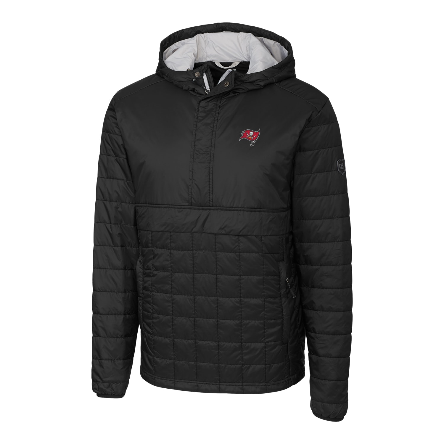 Tampa Bay Buccaneers Cutter & Buck Rainier Hooded Half-Zip Pullover Jacket - Black
