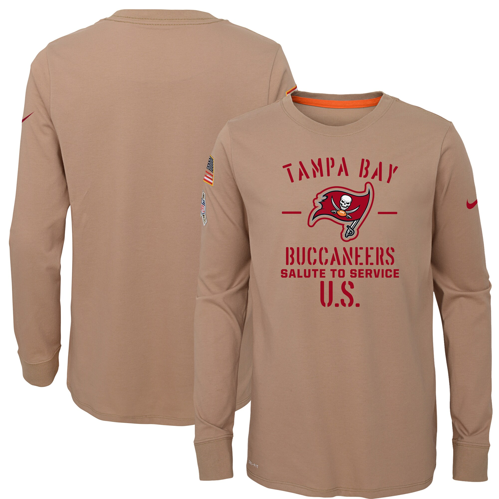 Tampa Bay Buccaneers Nike Youth 2019 Salute to Service Performance Long Sleeve T-Shirt - Khaki