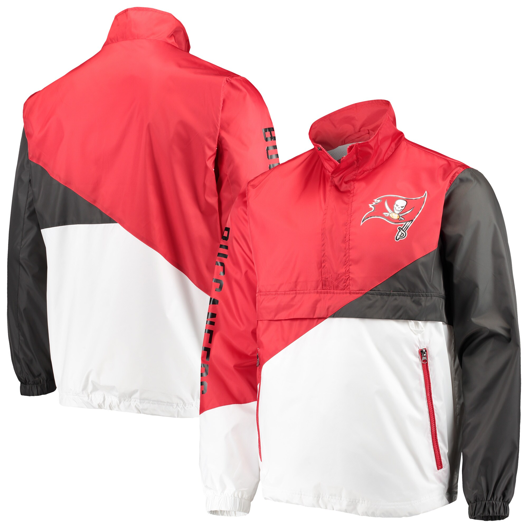 Tampa Bay Buccaneers G-III Sports by Carl Banks Double Team Half-Zip Pullover Jacket - Red/White