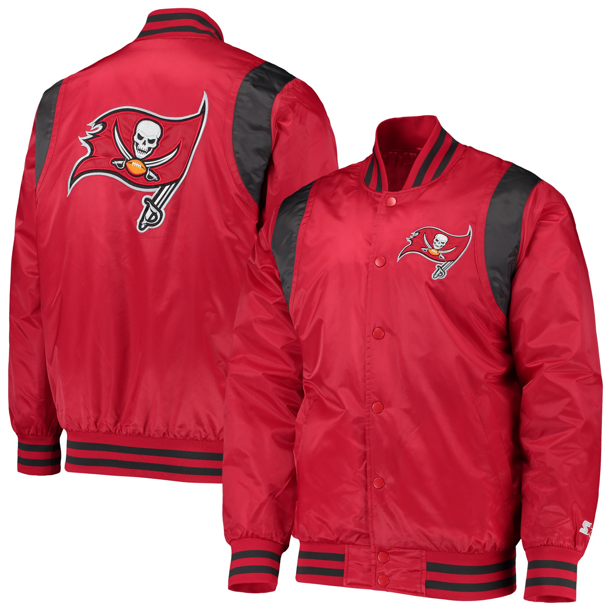 Tampa Bay Buccaneers Starter Prime Time Twill Satin Varsity Full-Snap Jacket - Red/Pewter