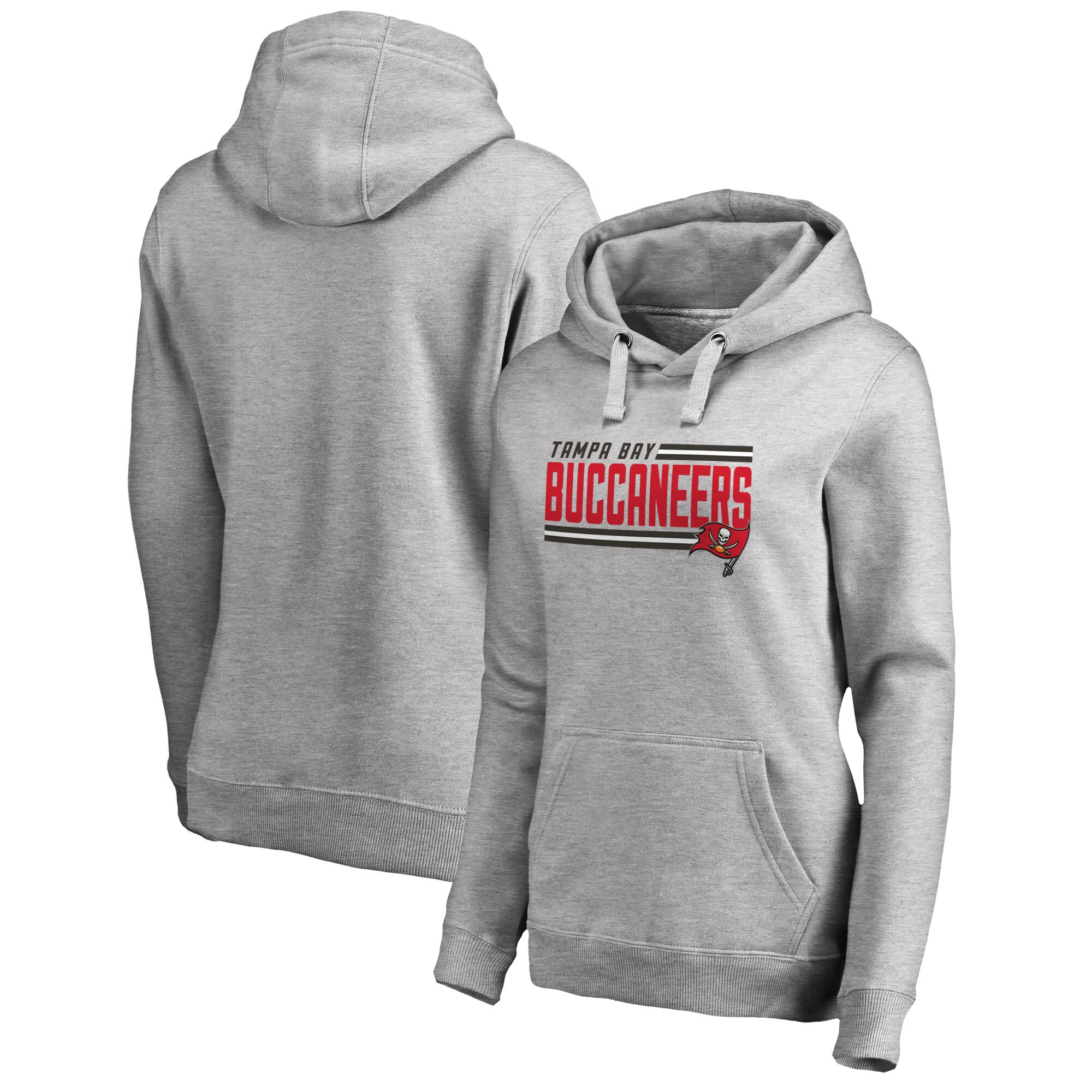 Tampa Bay Buccaneers NFL Pro Line by Fanatics Branded Women's Iconic Collection On Side Stripe Pullover Hoodie - Ash