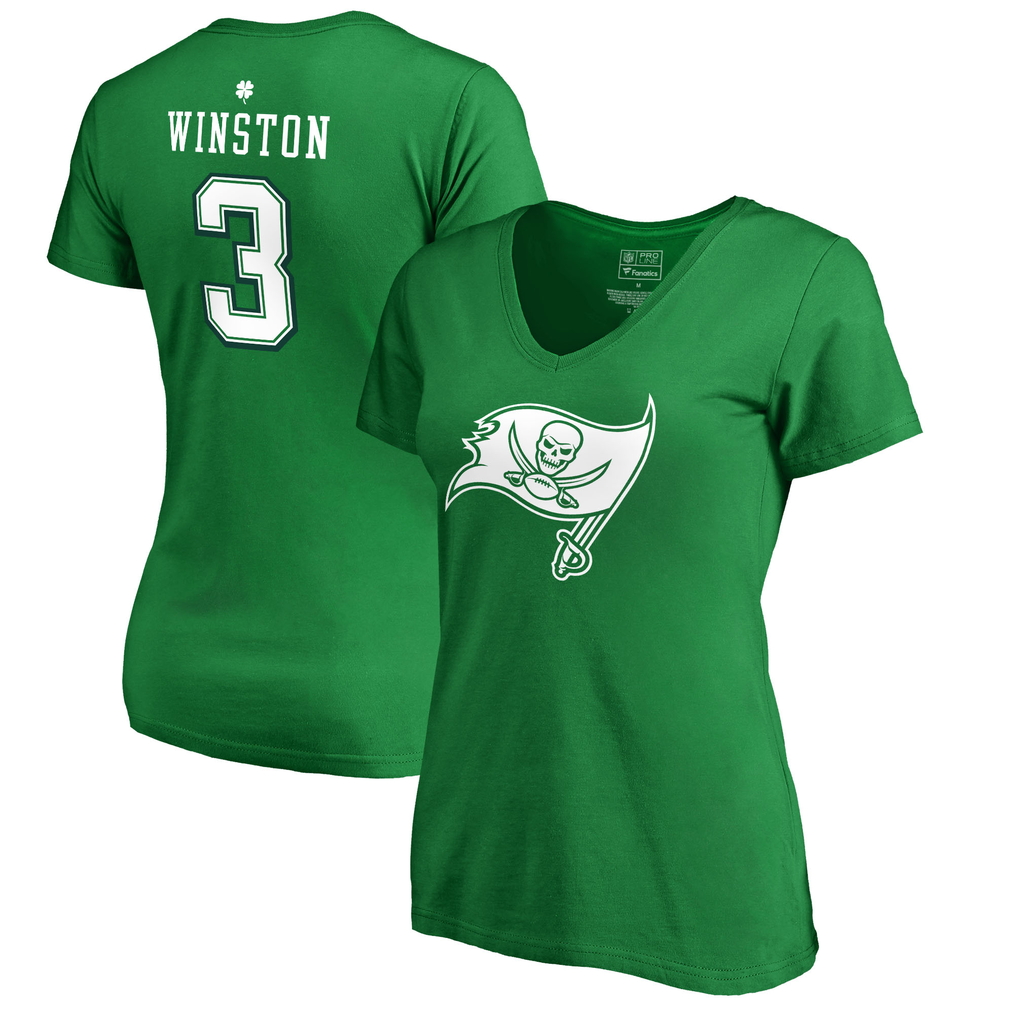 Jameis Winston Tampa Bay Buccaneers NFL Pro Line by Fanatics Branded Women's St. Patrick's Day Icon V-Neck Name & Number T-Shirt - Kelly Green