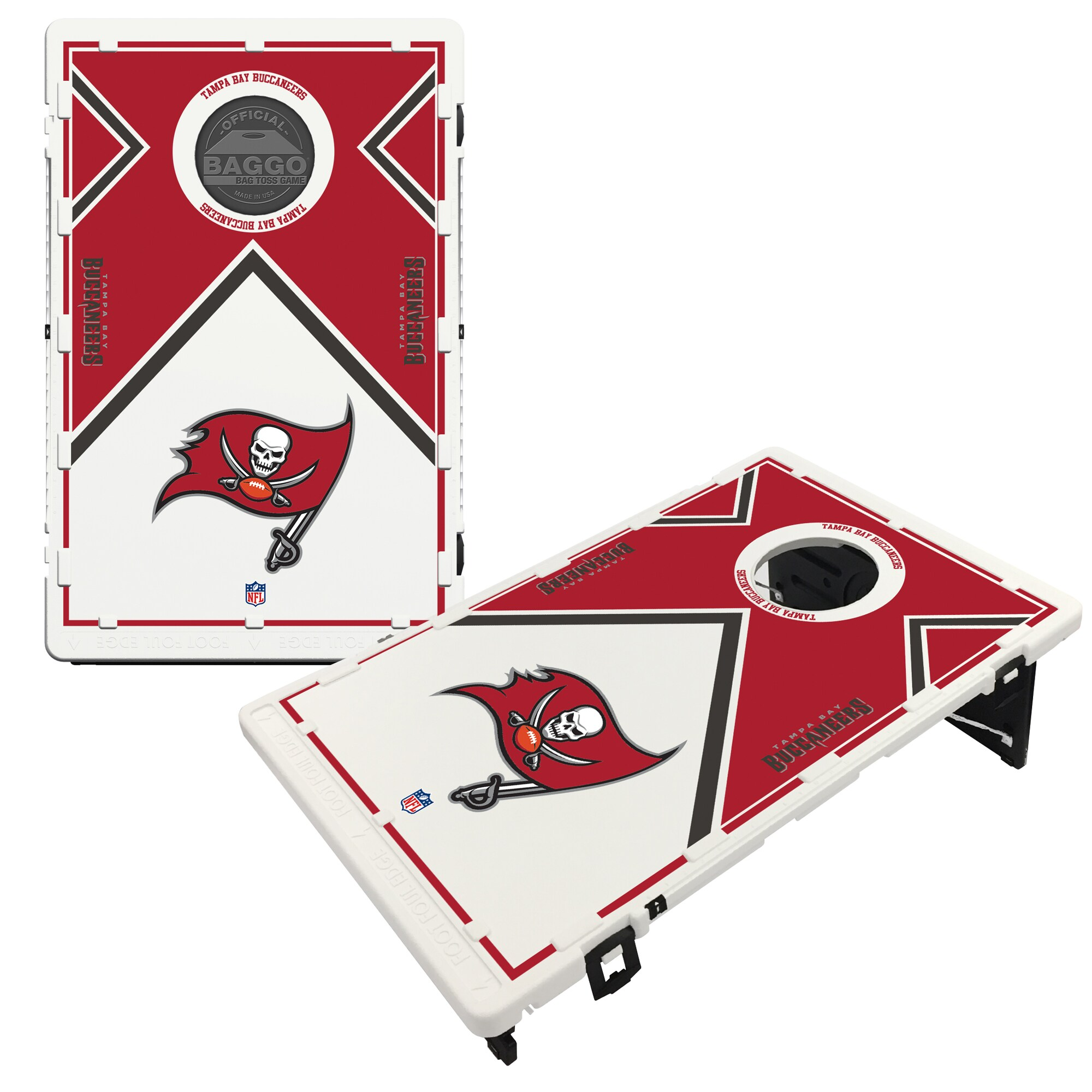 Tampa Bay Buccaneers 2' x 3' BAGGO Vintage Cornhole Board Tailgate Toss Set