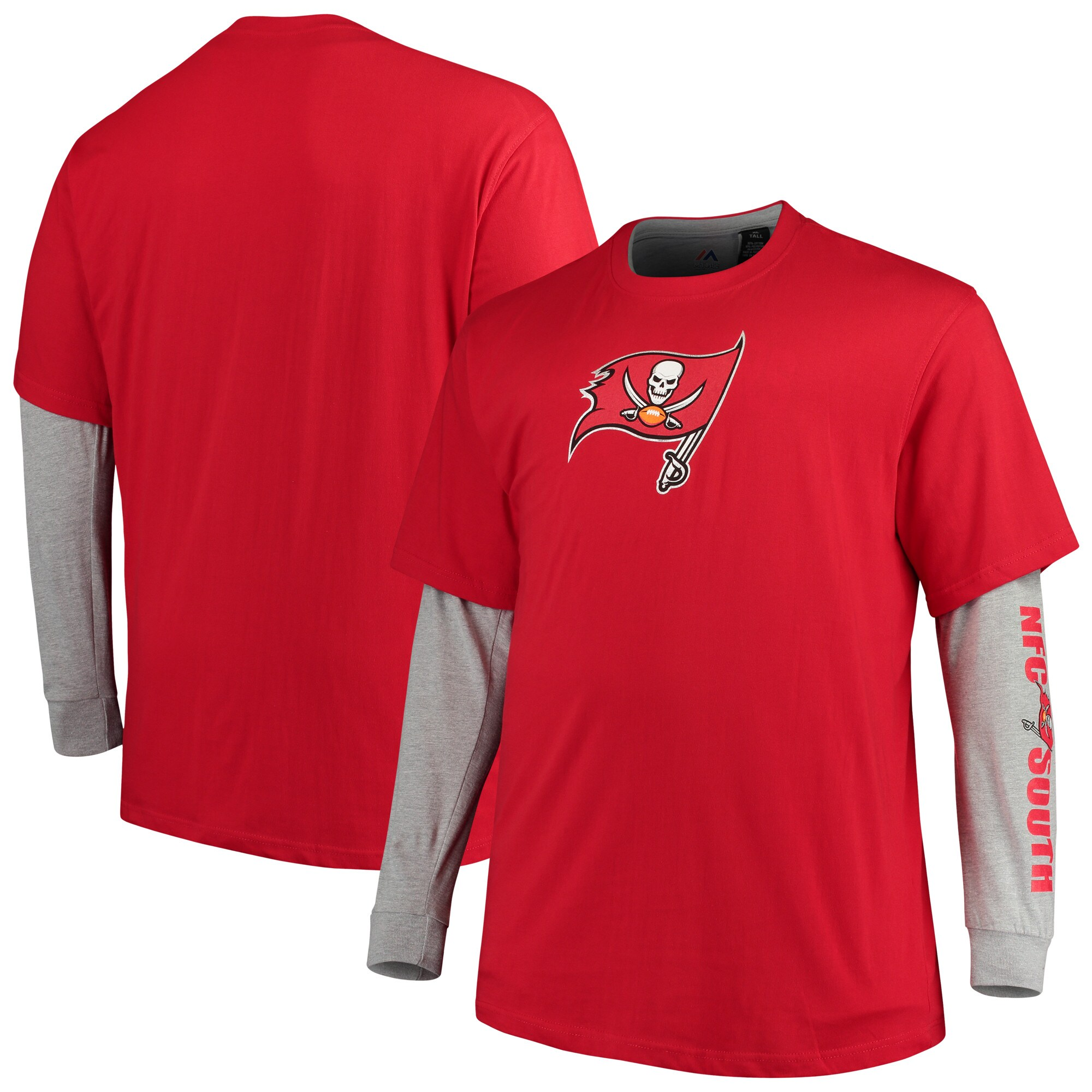 Tampa Bay Buccaneers Majestic Big & Tall T-Shirt Combo Set - Red/Heathered Gray