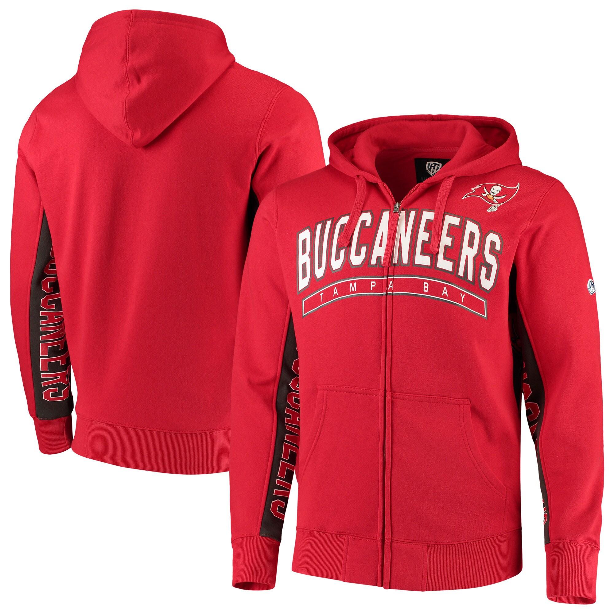 Tampa Bay Buccaneers Hands High Blowout Full-Zip Hoodie - Red/Pewter