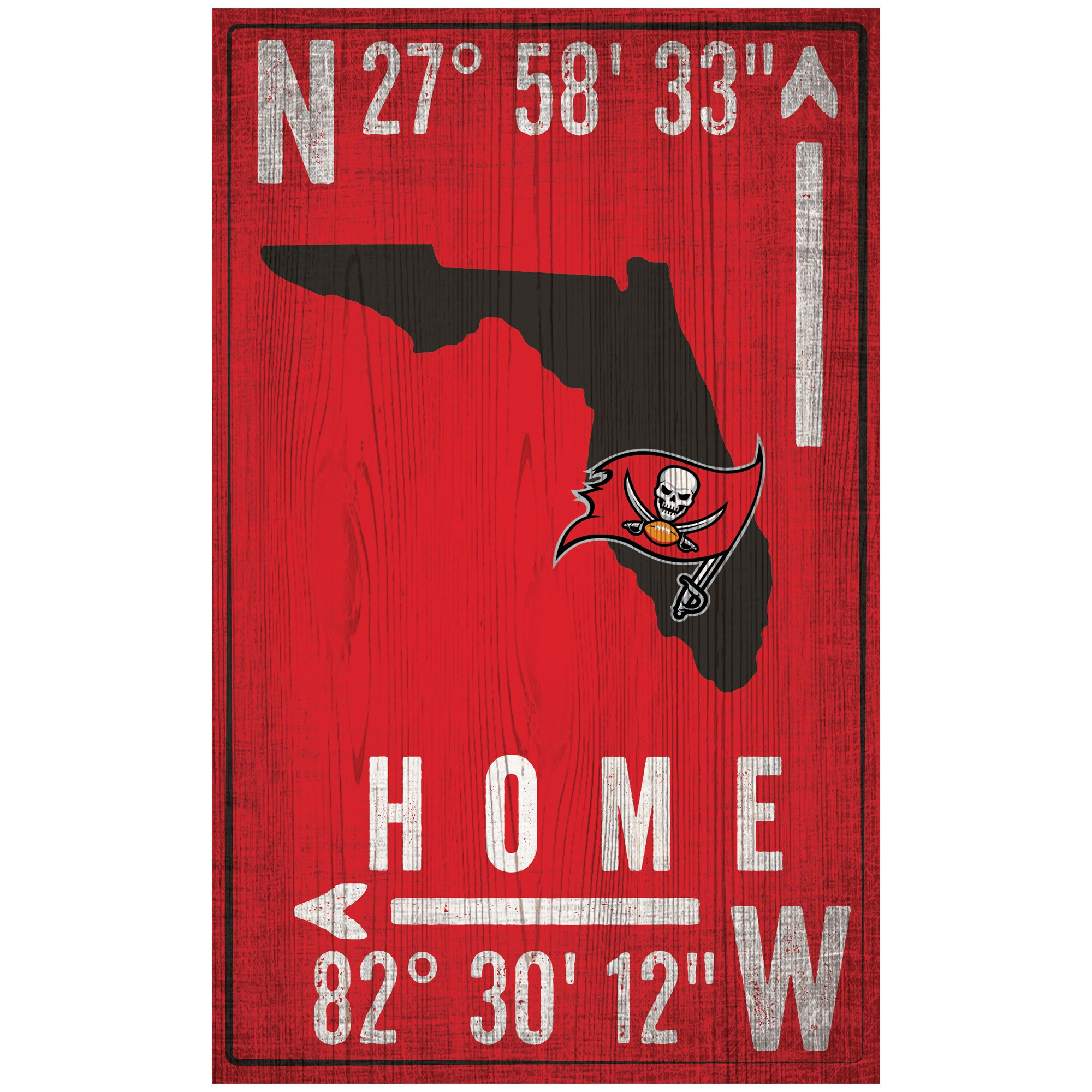 "Tampa Bay Buccaneers 11"" x 19"" Coordinate Sign"