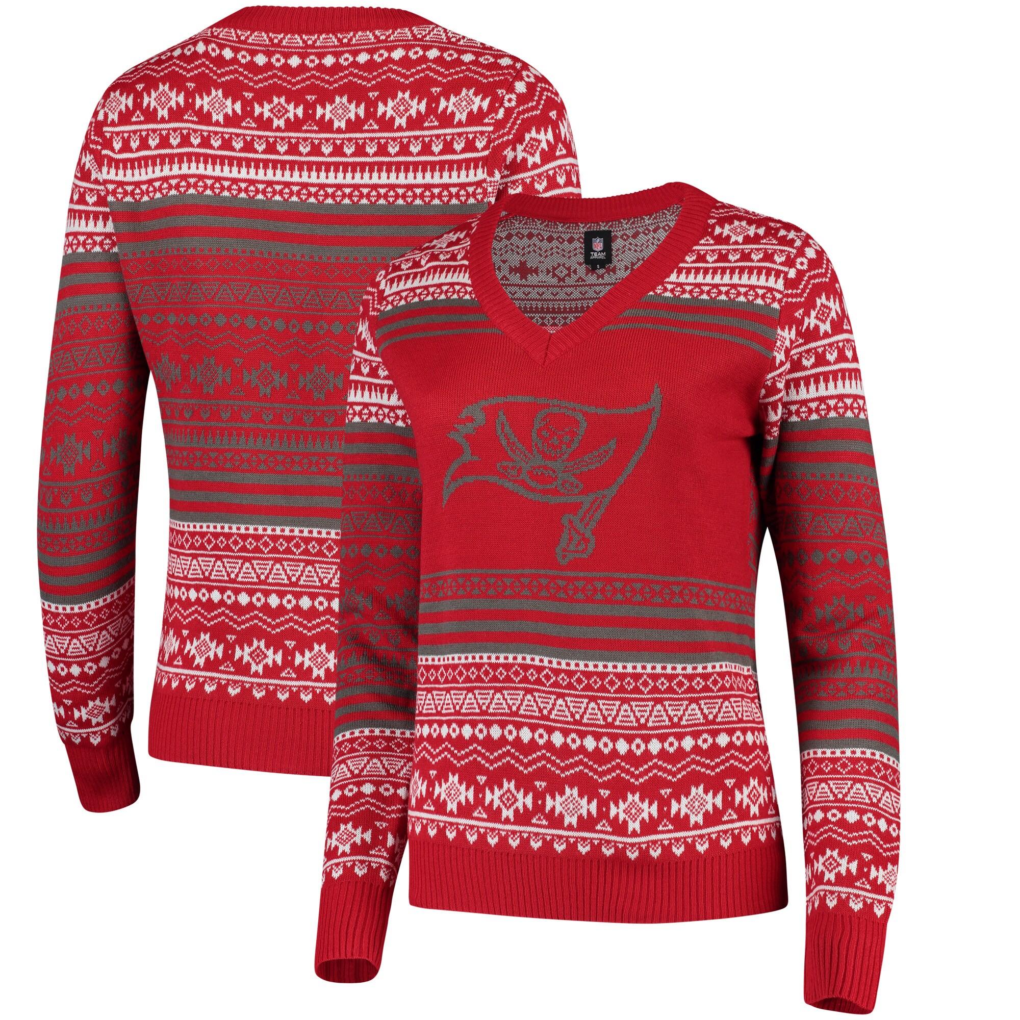 Tampa Bay Buccaneers Women's Big Logo Aztec V-Neck Sweater - Red